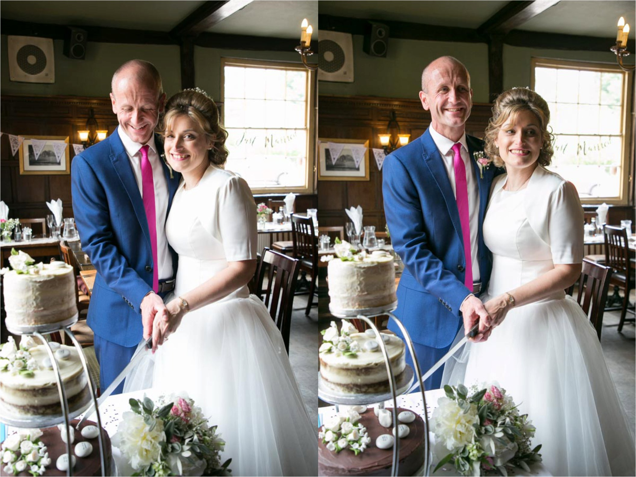 50's style wedding in bury st edmunds, cutting the cake