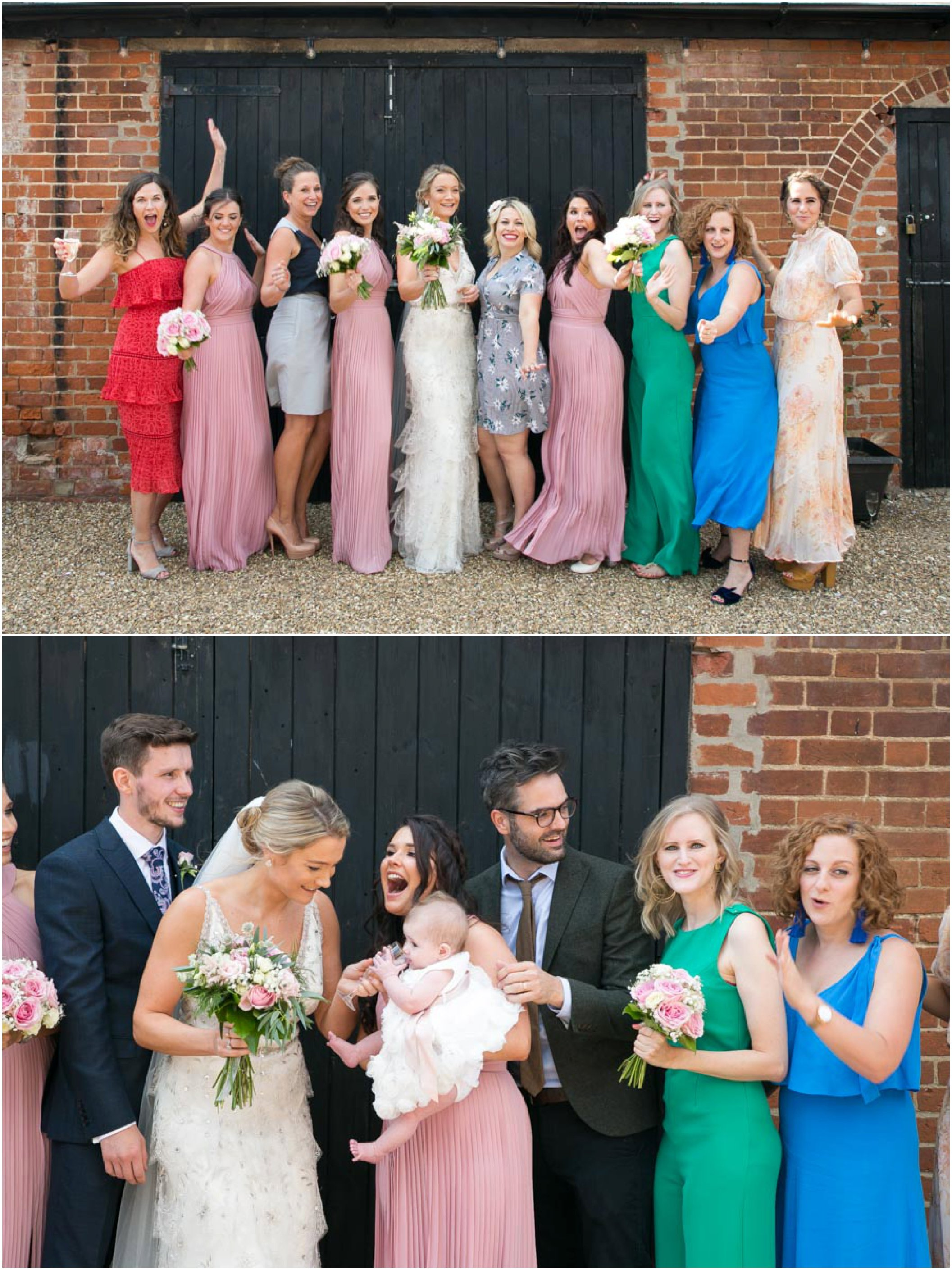 female friends of the bride having fun while haing a group wedding photo
