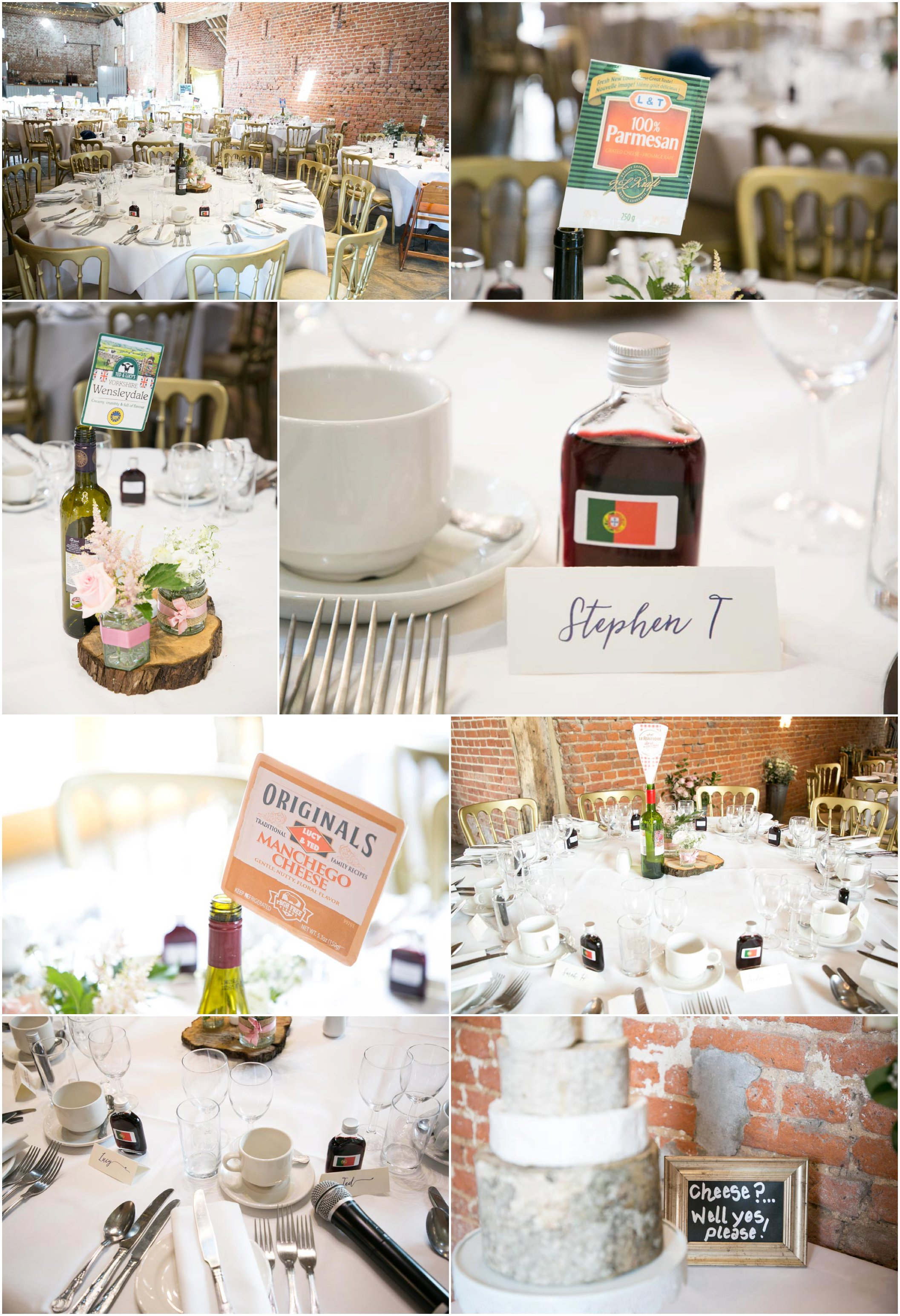 details of wedding tables at barn wedding, cheese theme, their own lables for each table