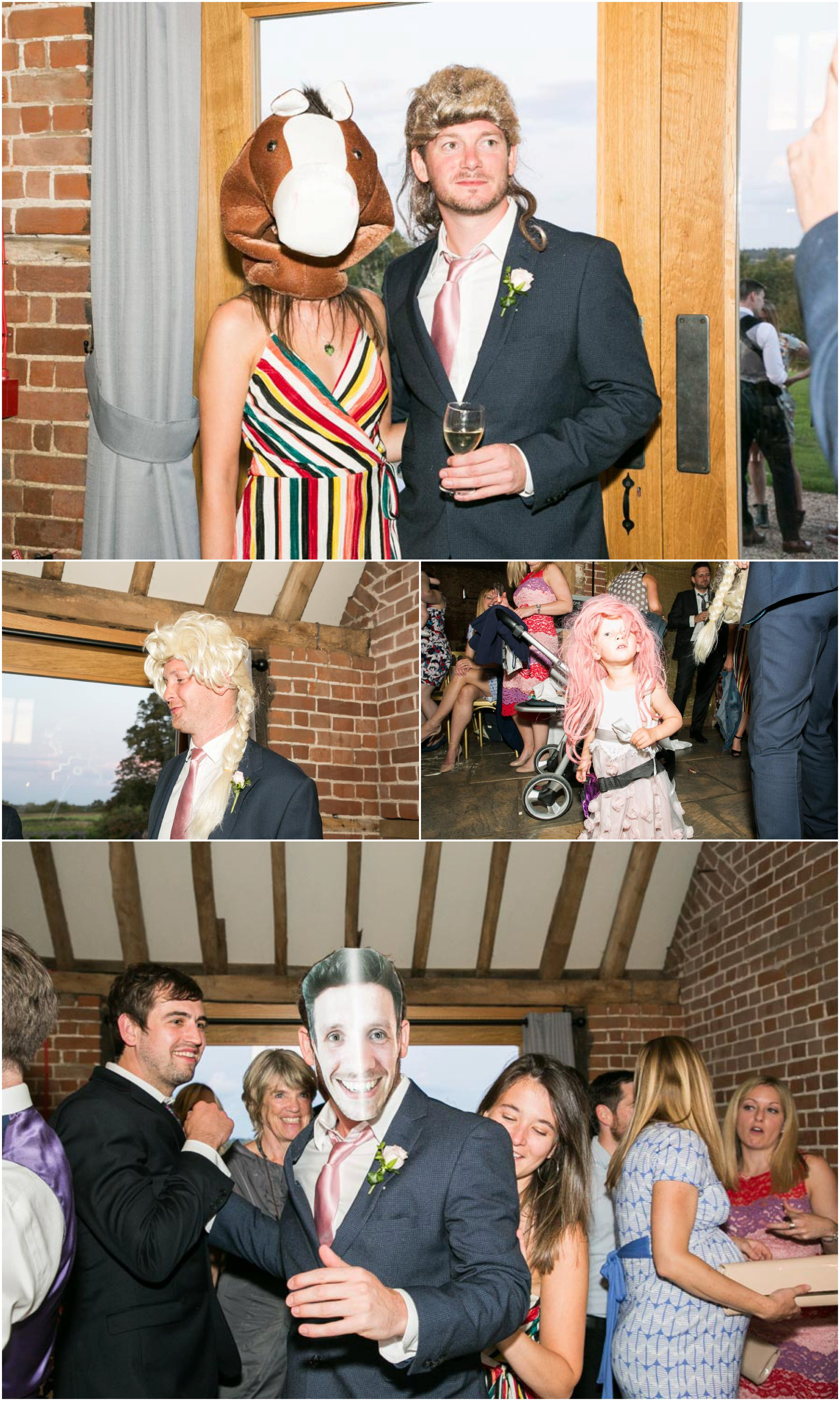 guests having fun with wigs and masks at barn wedding reception