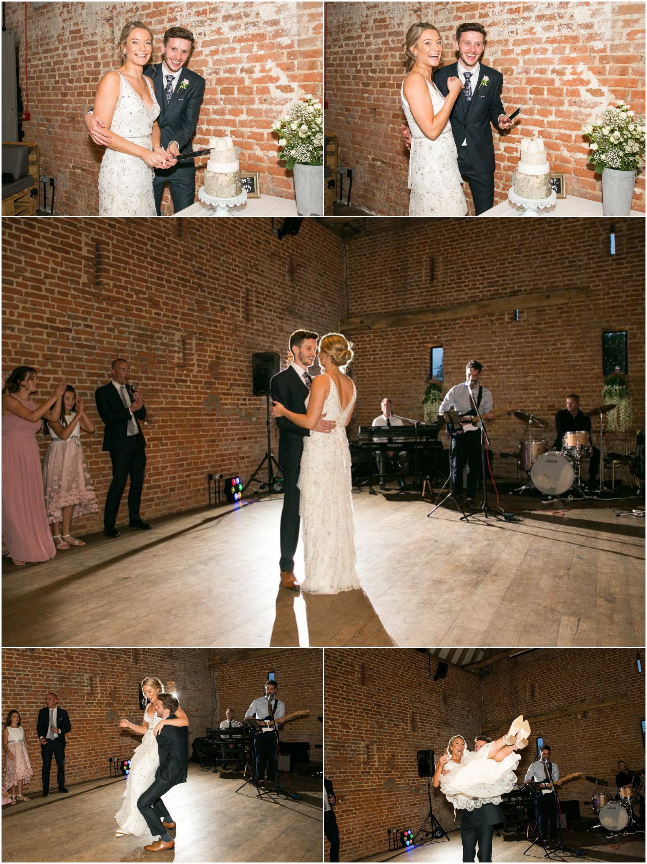 bride and groom cutting their wedding cheese cake, and then then having their first dance with light shining from behind, groom picks bride up