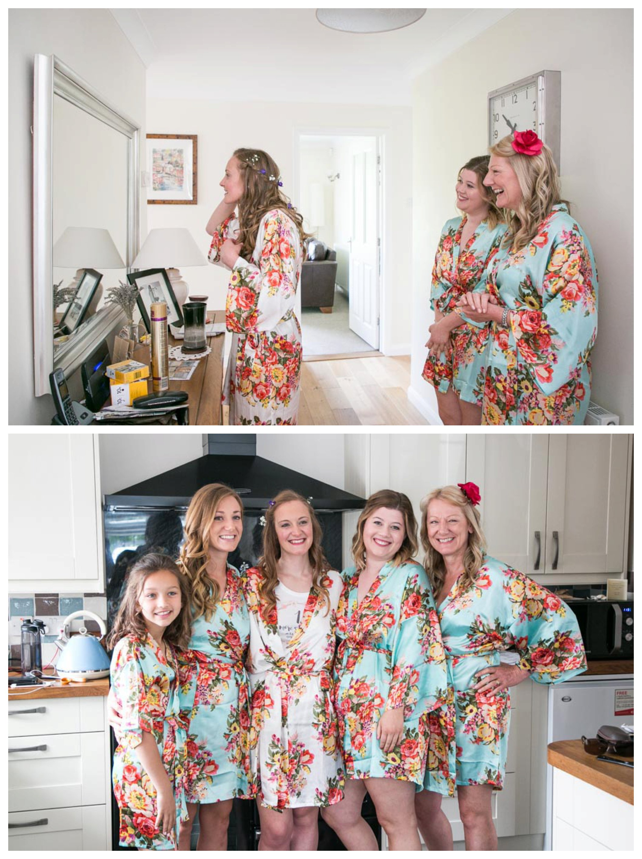 bridal party in floral dressing gowns at home beore wedding