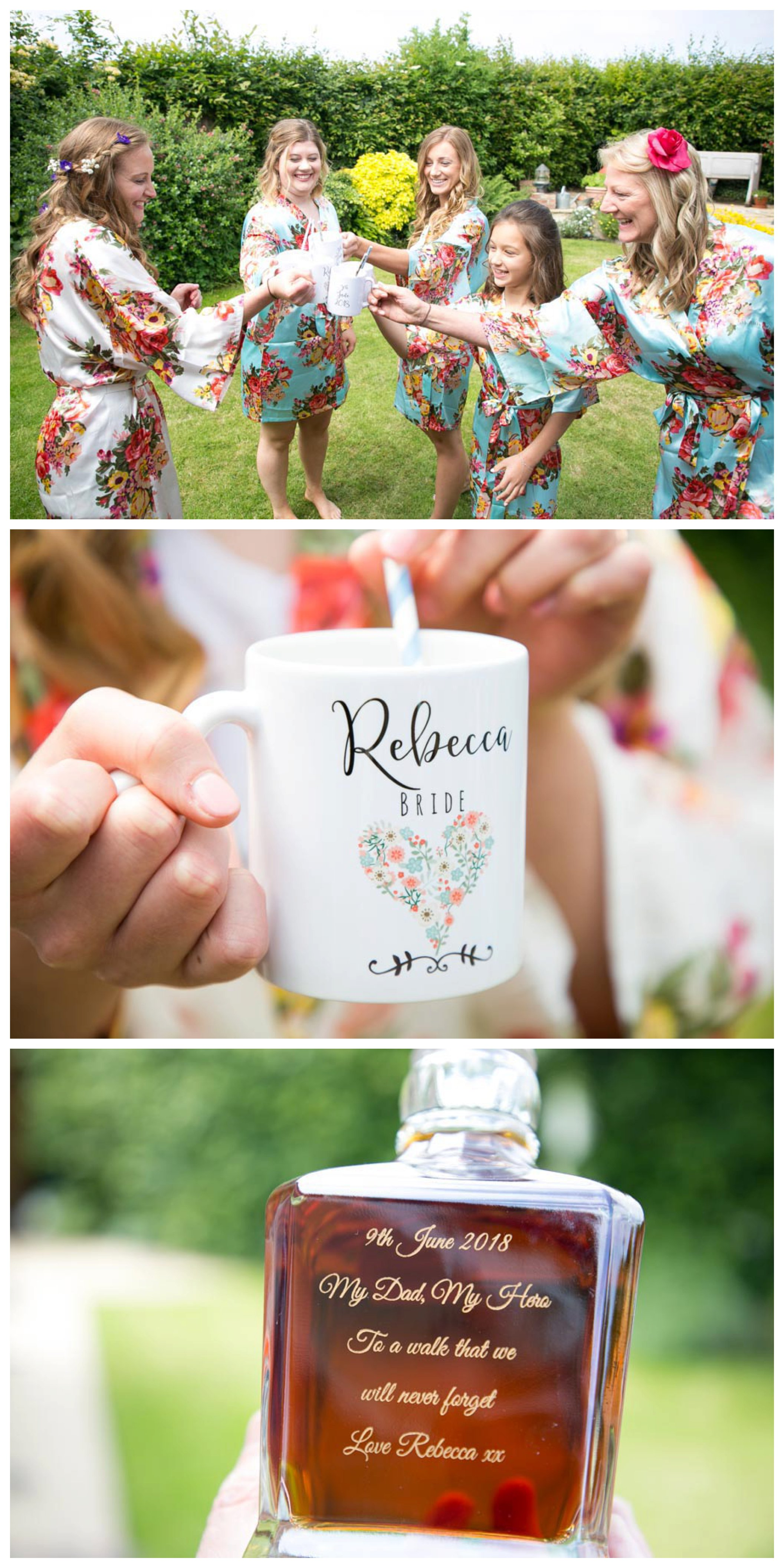 bride and bridesmaids cheers with personalised mugs before wedding