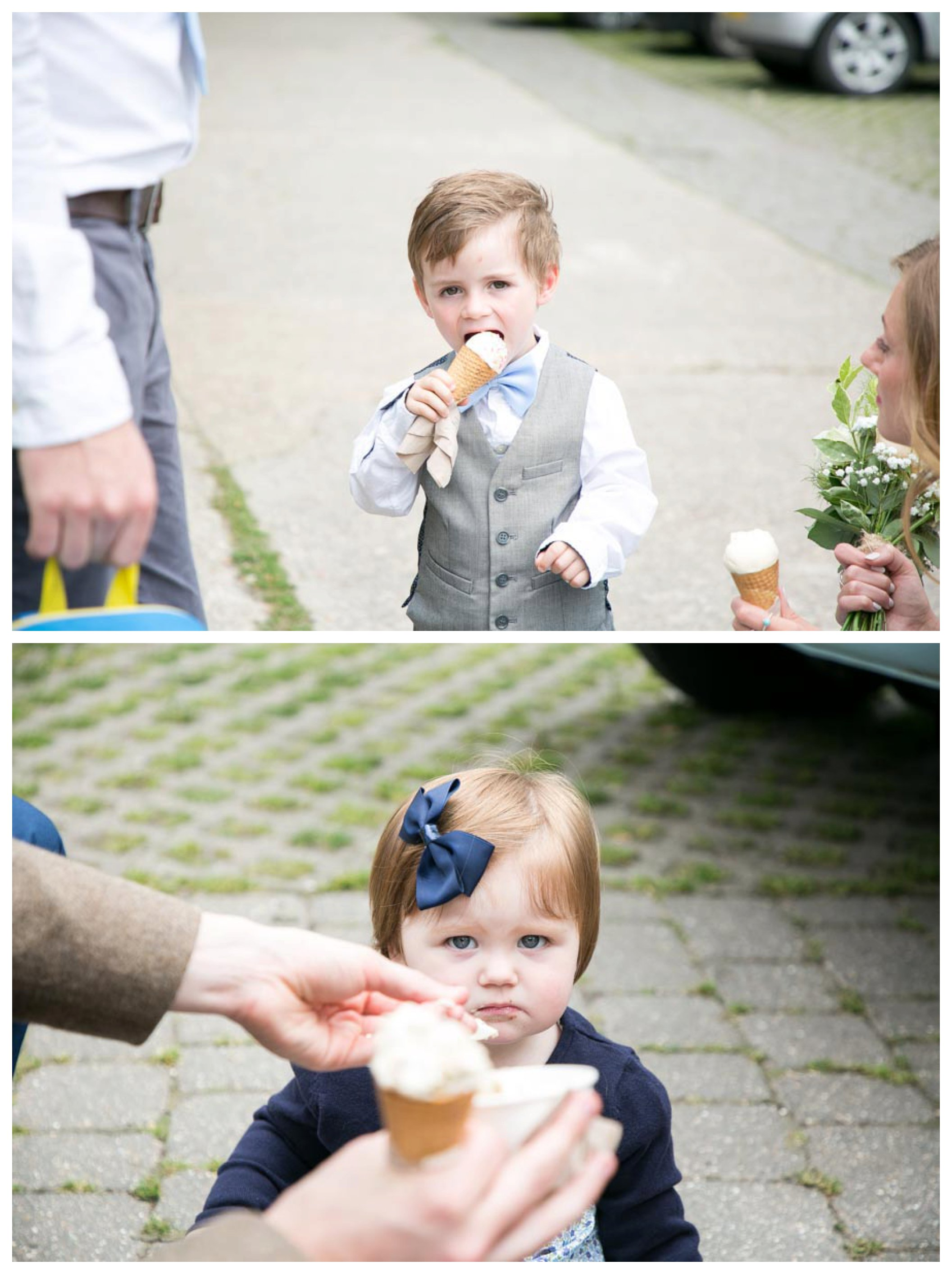 children eating icecream outside church at wedding in suffolk