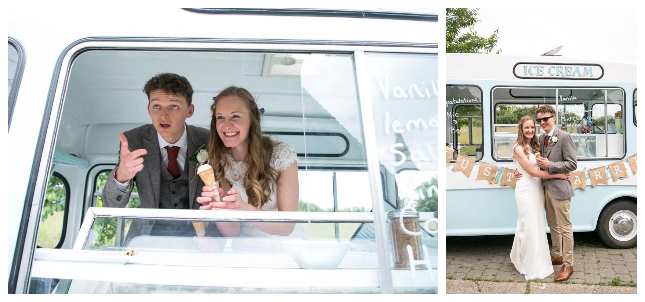 bride and groom serving icecream from vintace icecream van outside church at their wedding