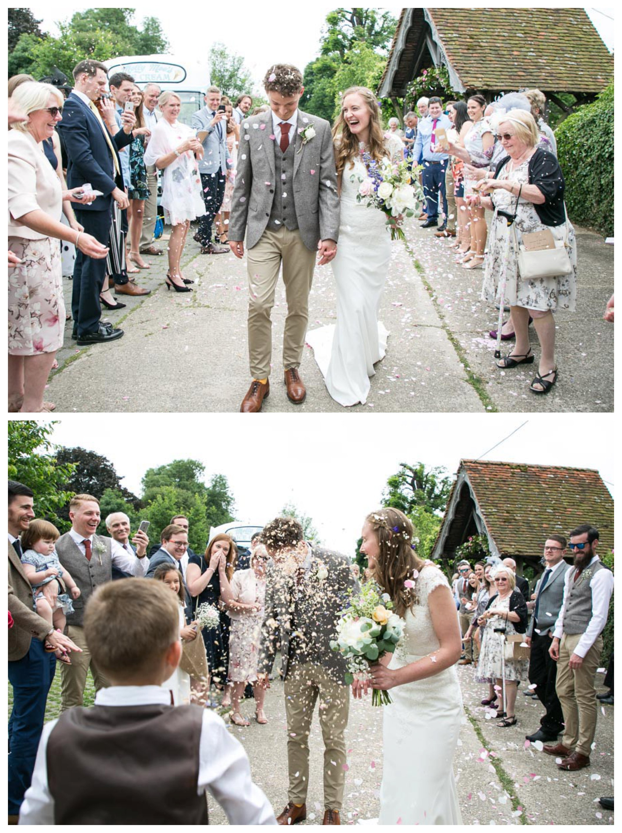 bride and groom having confettii thrown over them outside church at their wedding