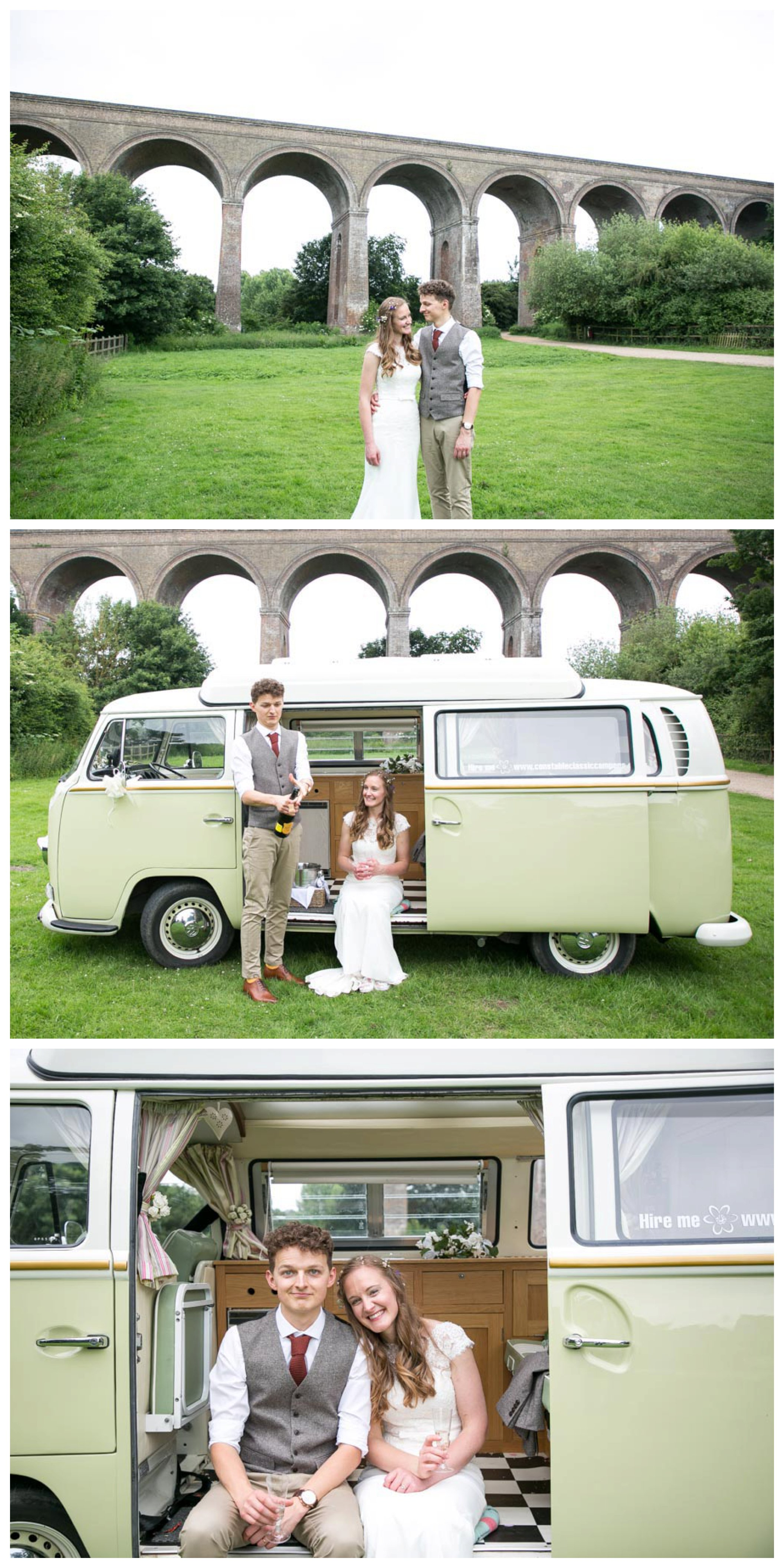 just married couple at Chappel viaduct with it in background, with vintage VW camper van