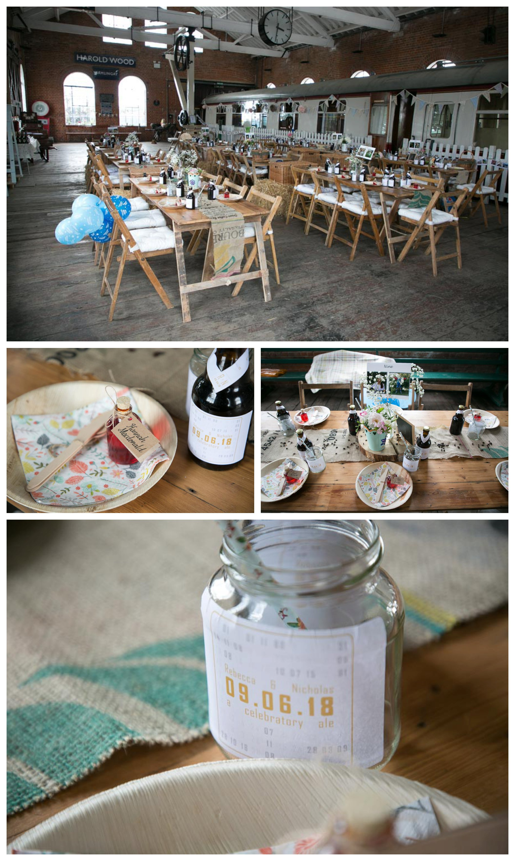 wedding table set up and decoration at East Anglian Railway museum, jam jars and long tables