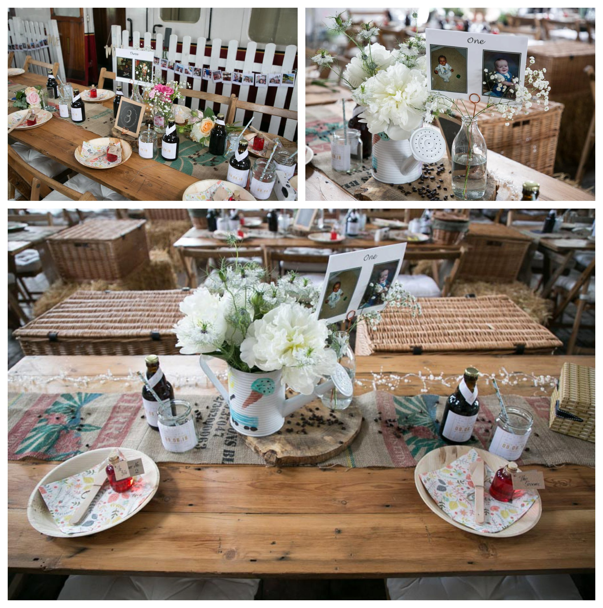 table decorations rustic, flowers in watering cans on trestle tables at railway museum wedding