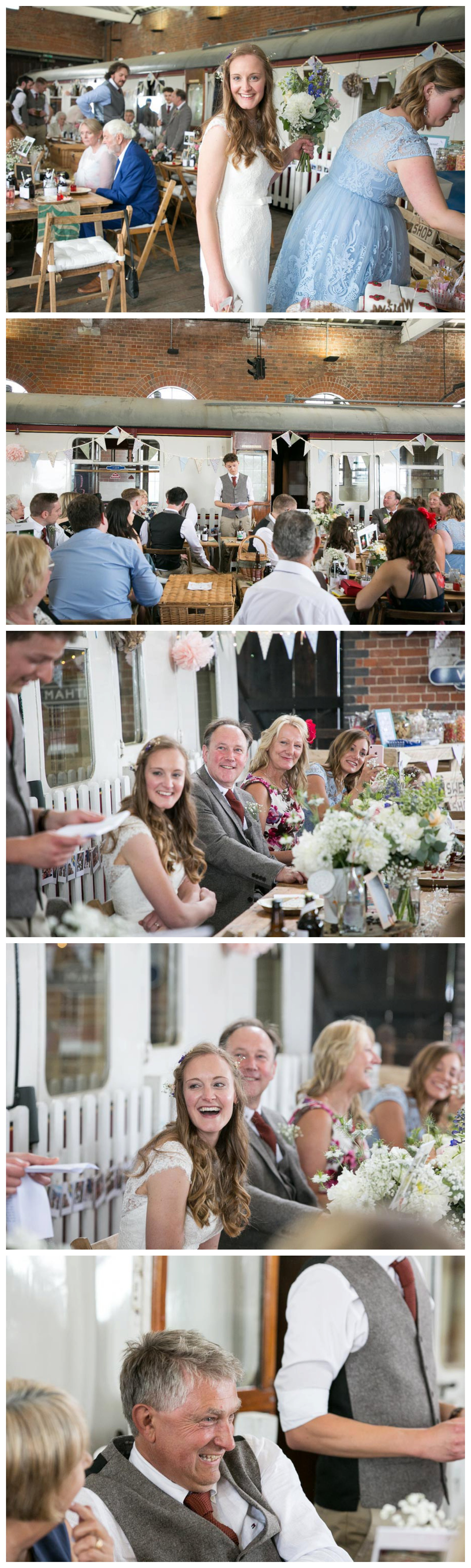 laughing bride and guests at east anglian railway wedding during speeches
