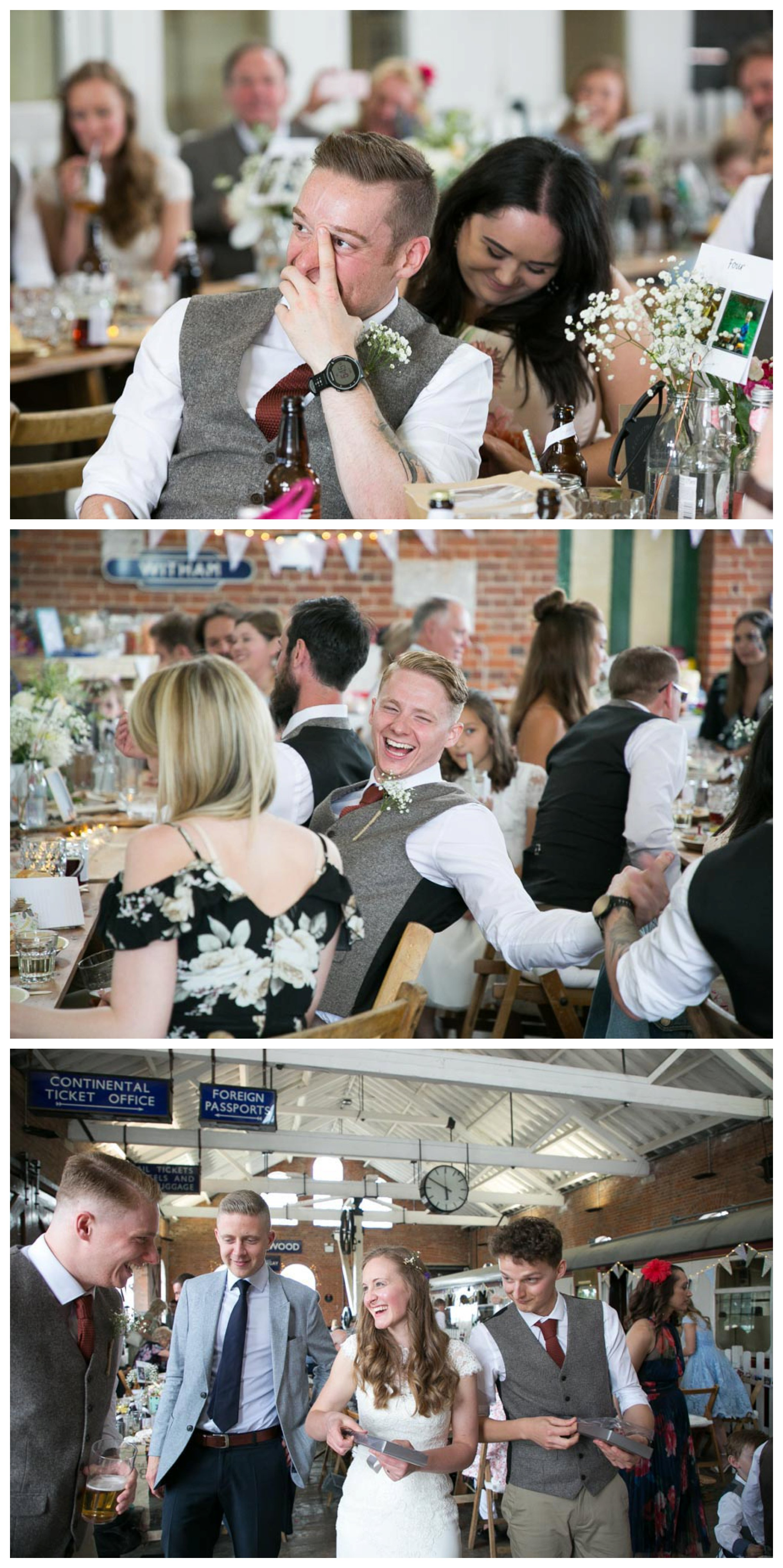 happy faces of guests during best man speeches at wedding, bride and groom dishing up wedding cake