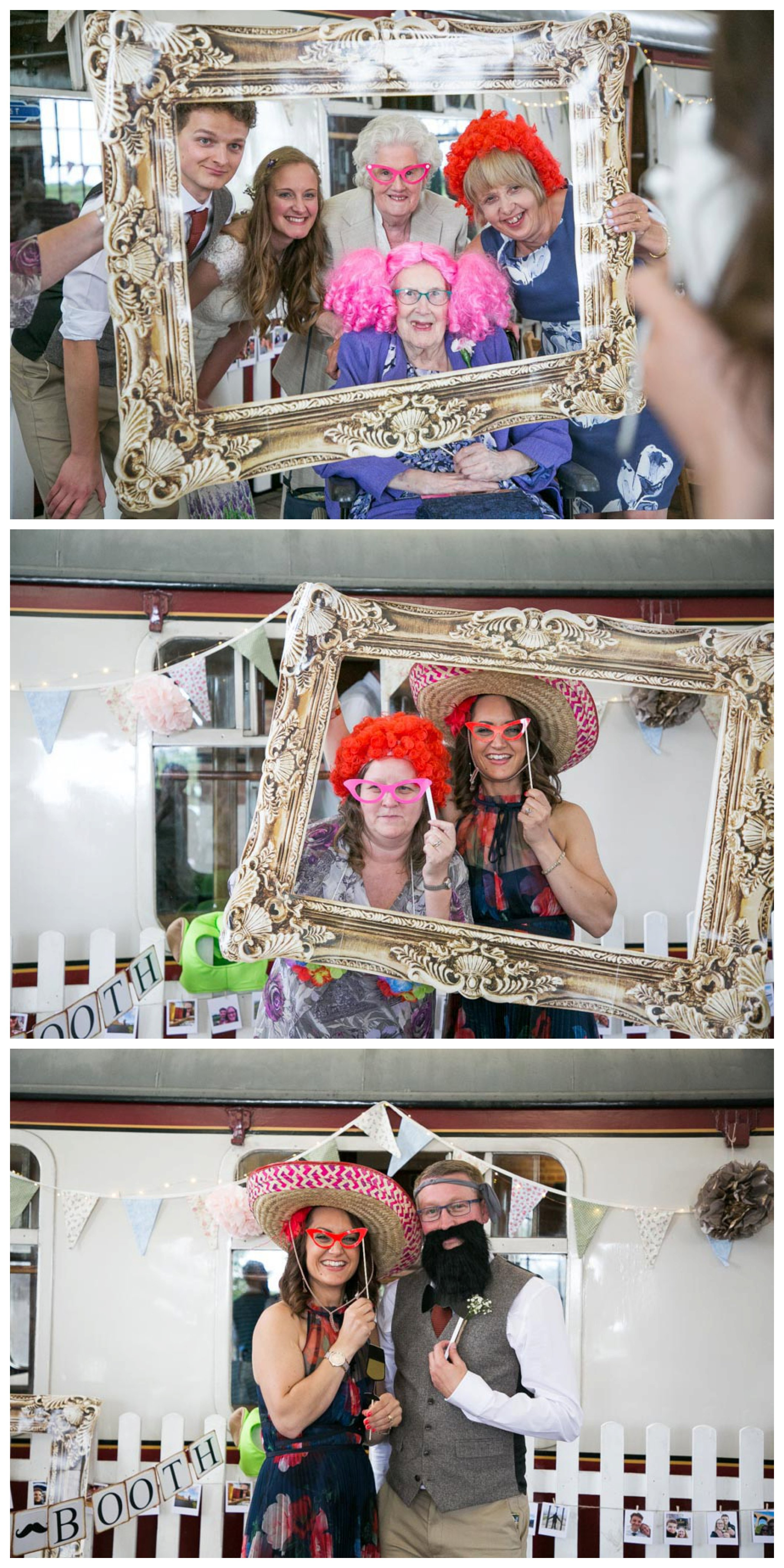 guests with hats and wigs on for photo booth at wedding reception