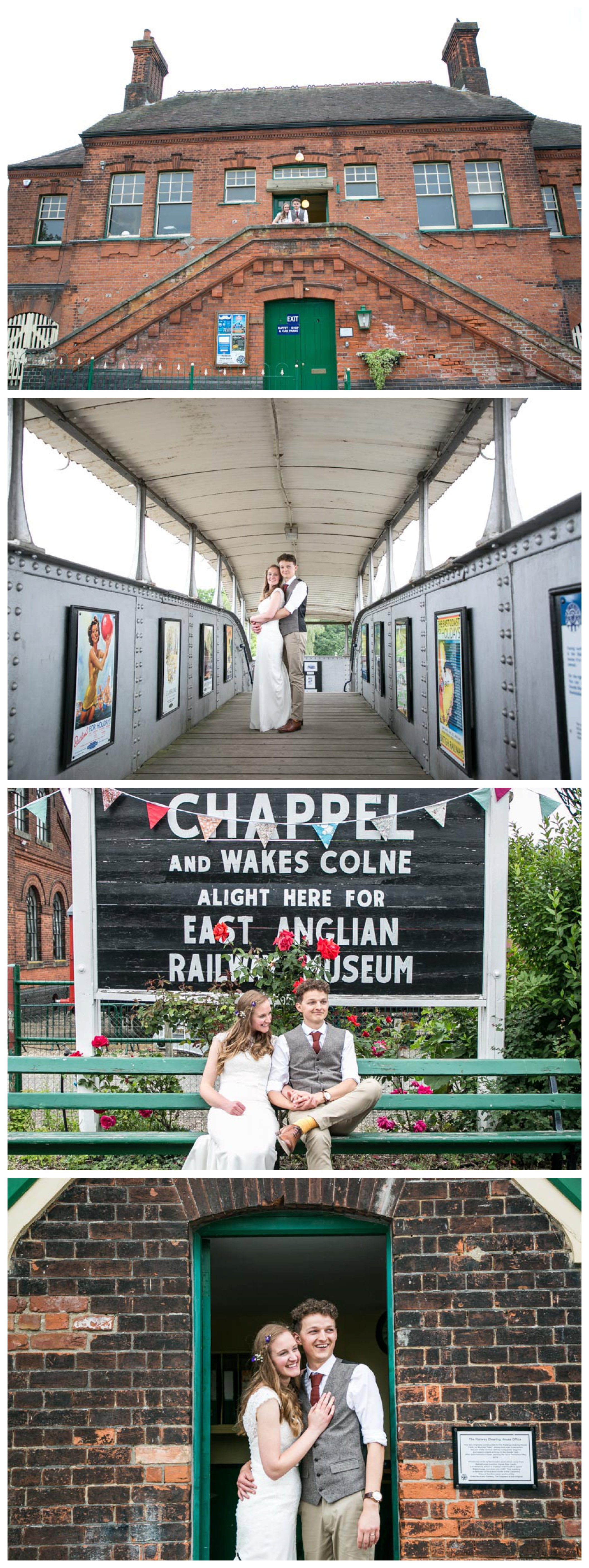 bride and groom wedding portraits at railway museum, on bench, in doorway and on bridge