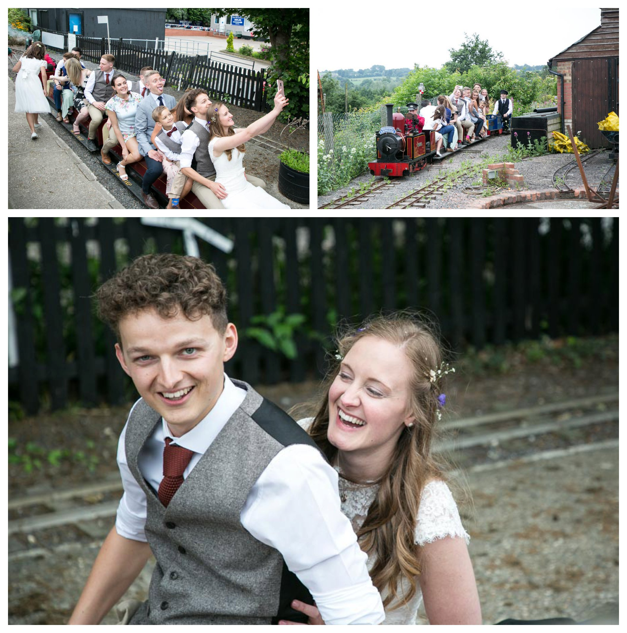 bride and groom on the miniature railway at their wedding