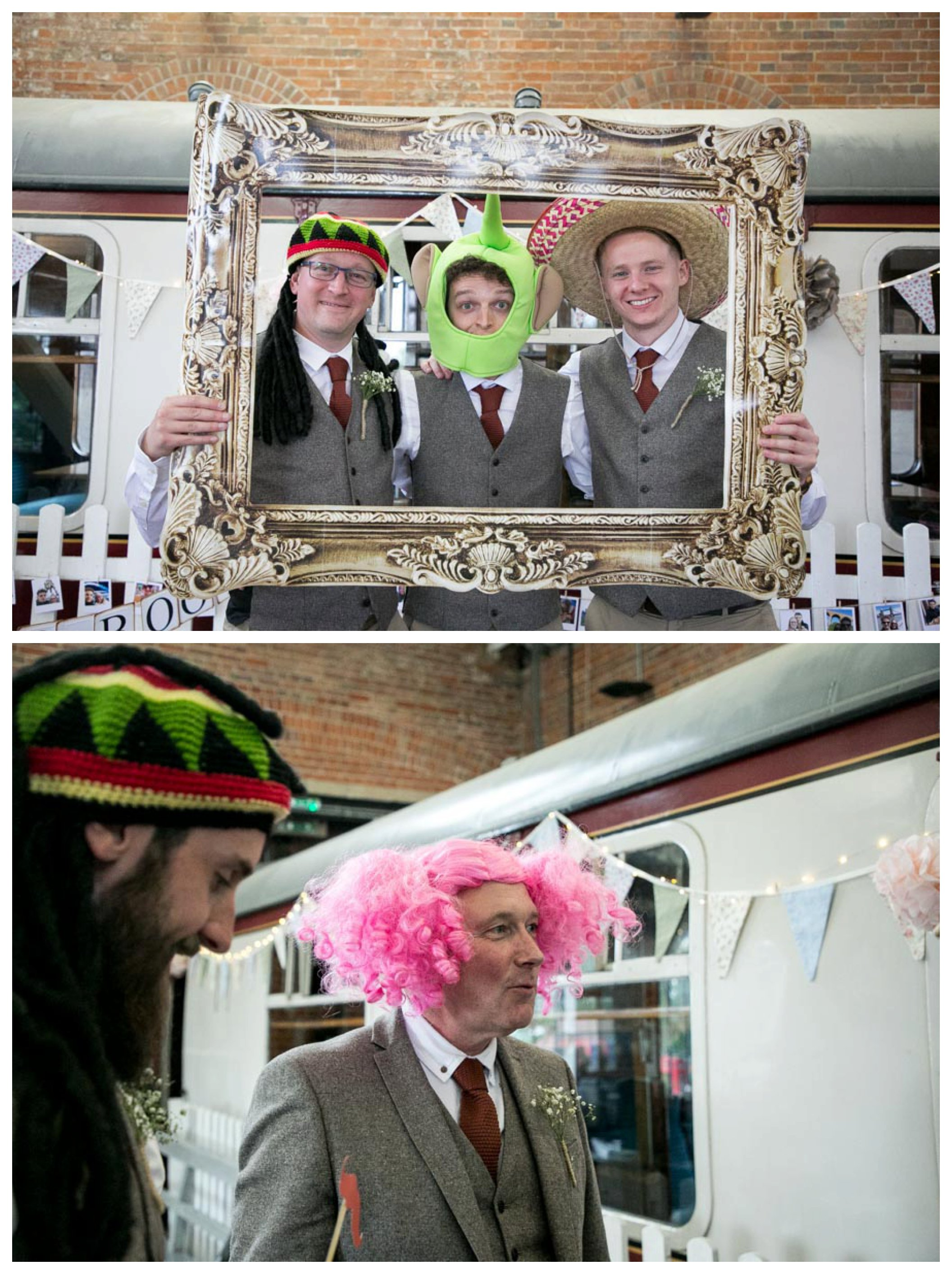 groom and friends with silly wigs at wedding reception