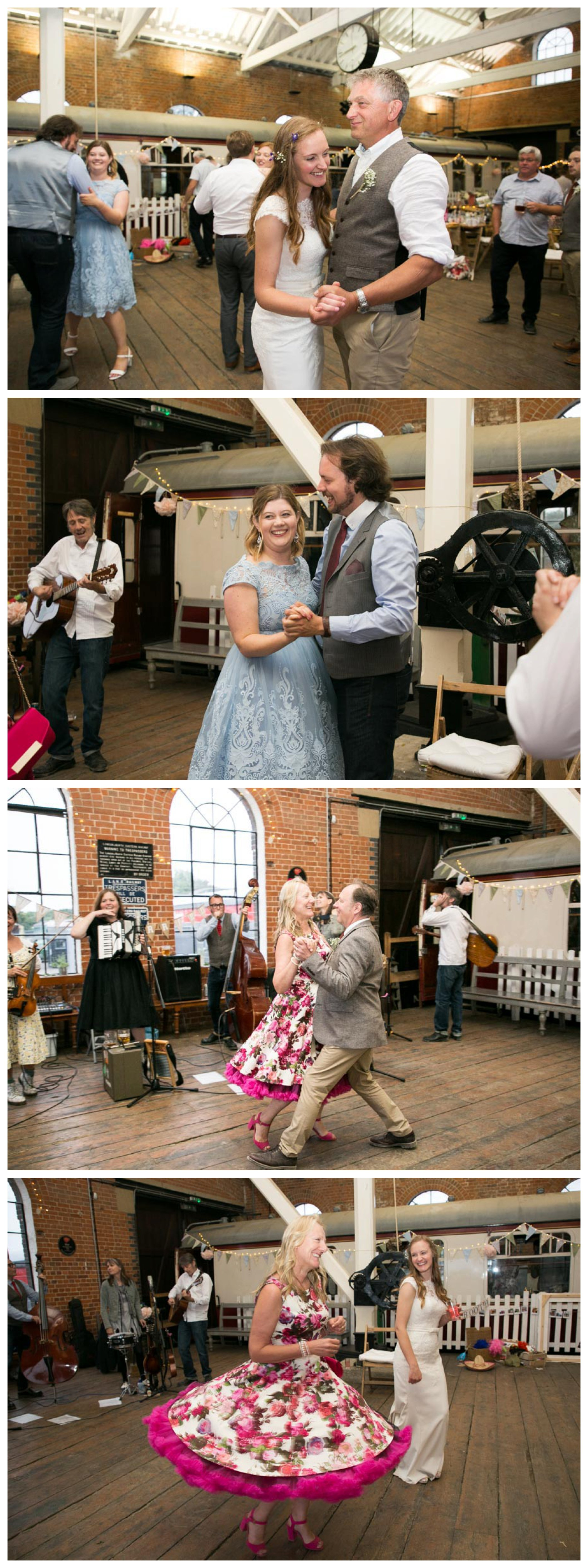 dancing to skiffle band at railyway museum wedding