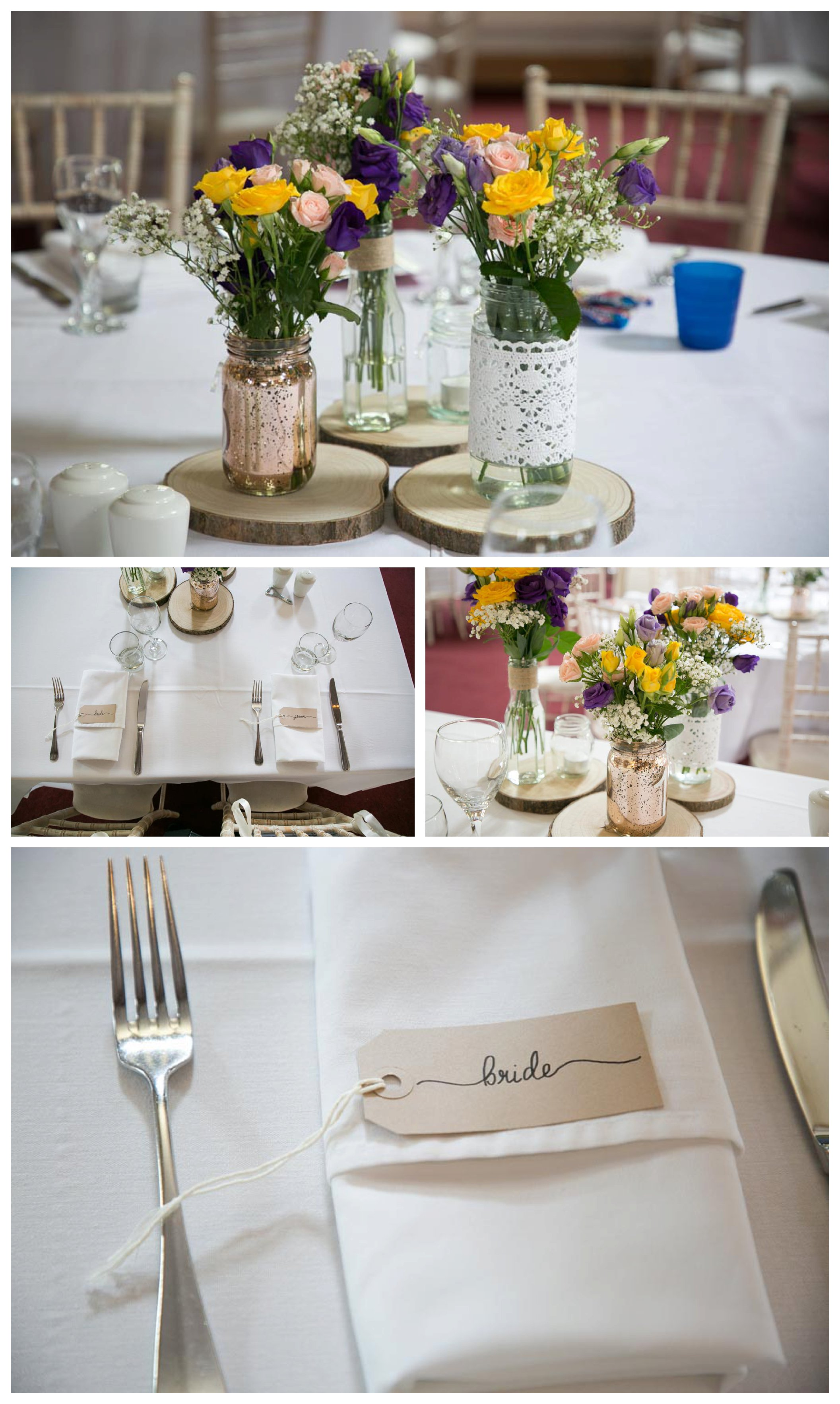 pretty table settings at Reid Rooms wedding breakfast