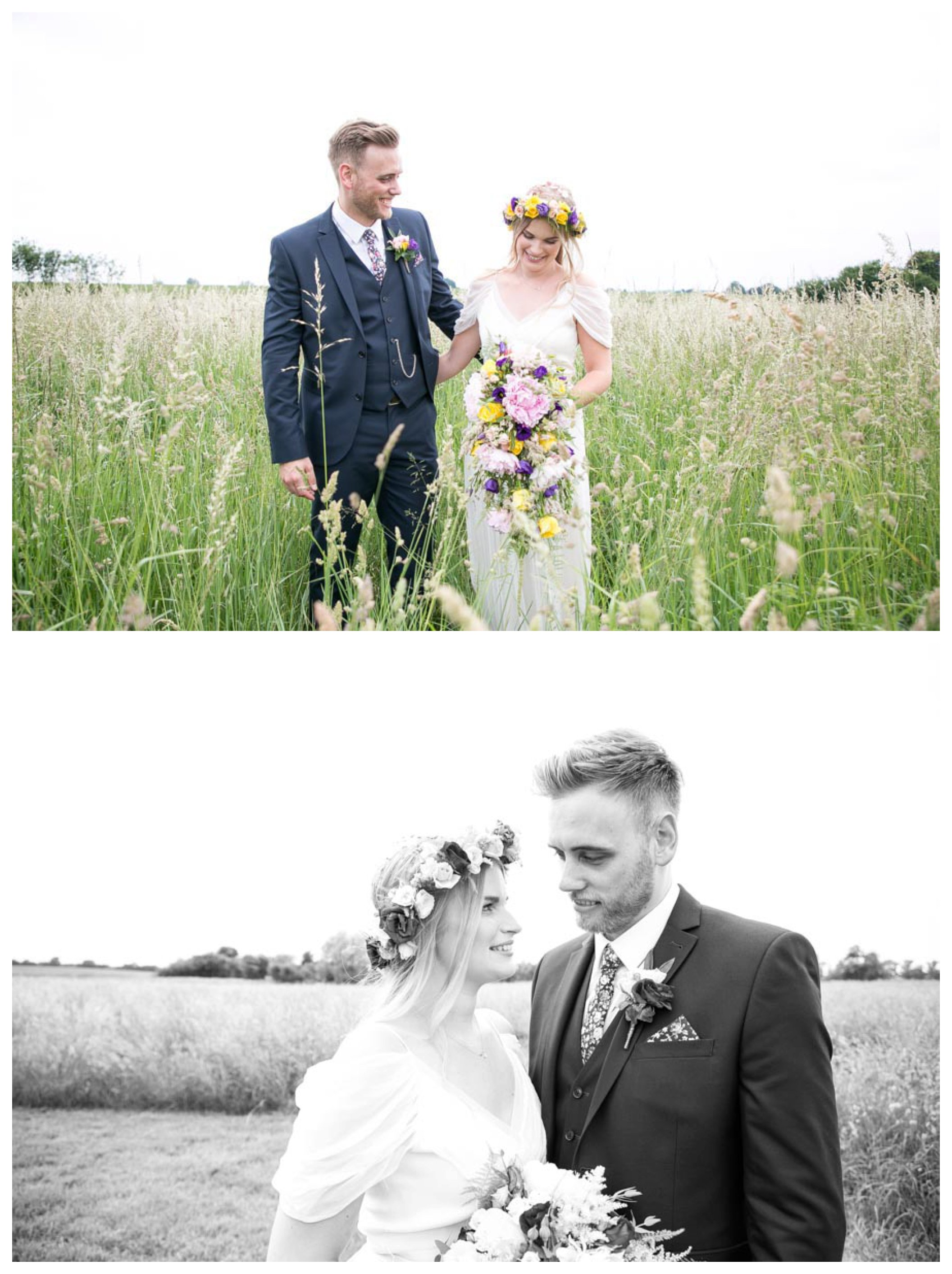 bride with flower crown and groom happy together in field at essex wedding