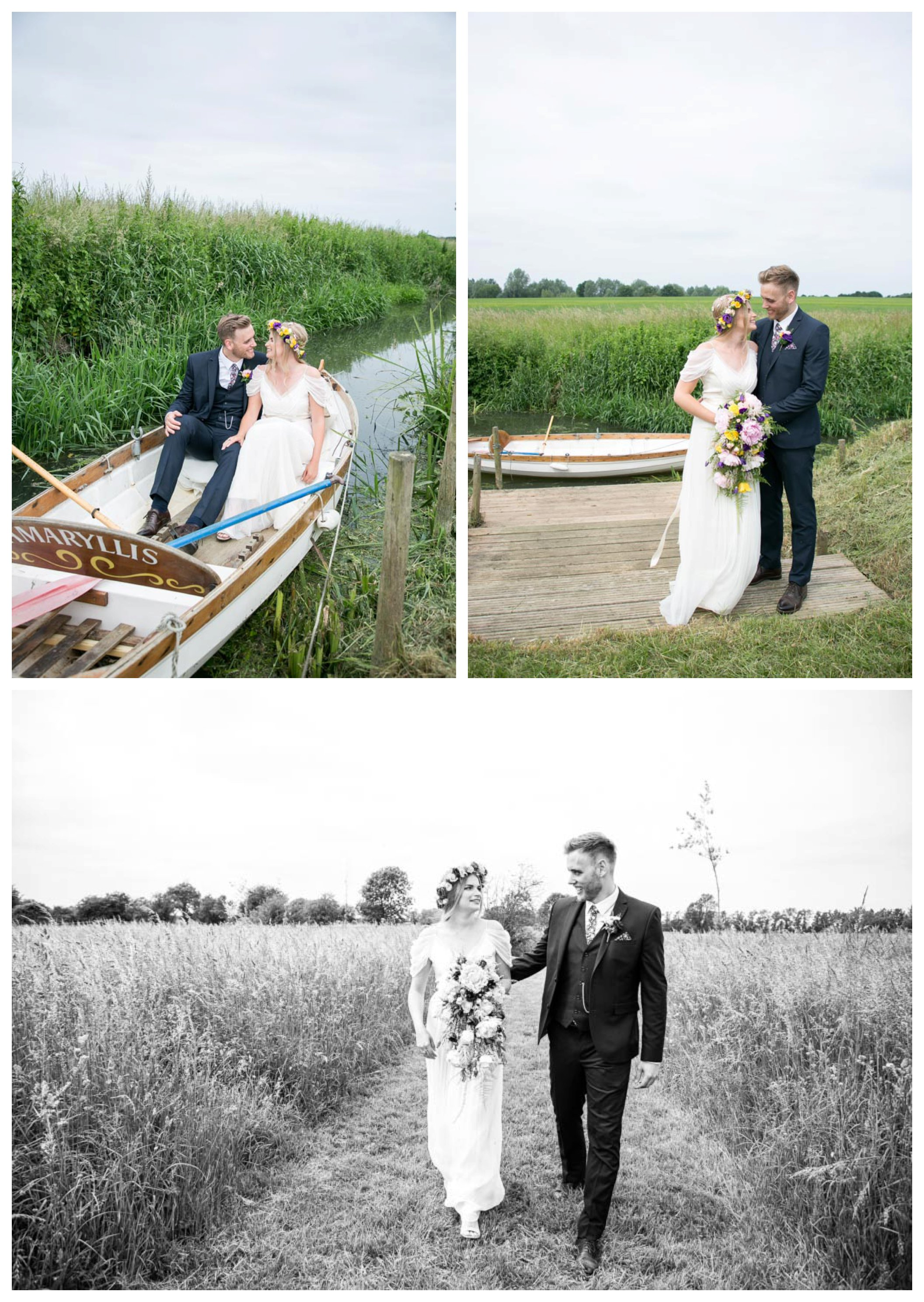 happy couple at wedding on rowing boat and walking along in a field at Reid Rooms wedding