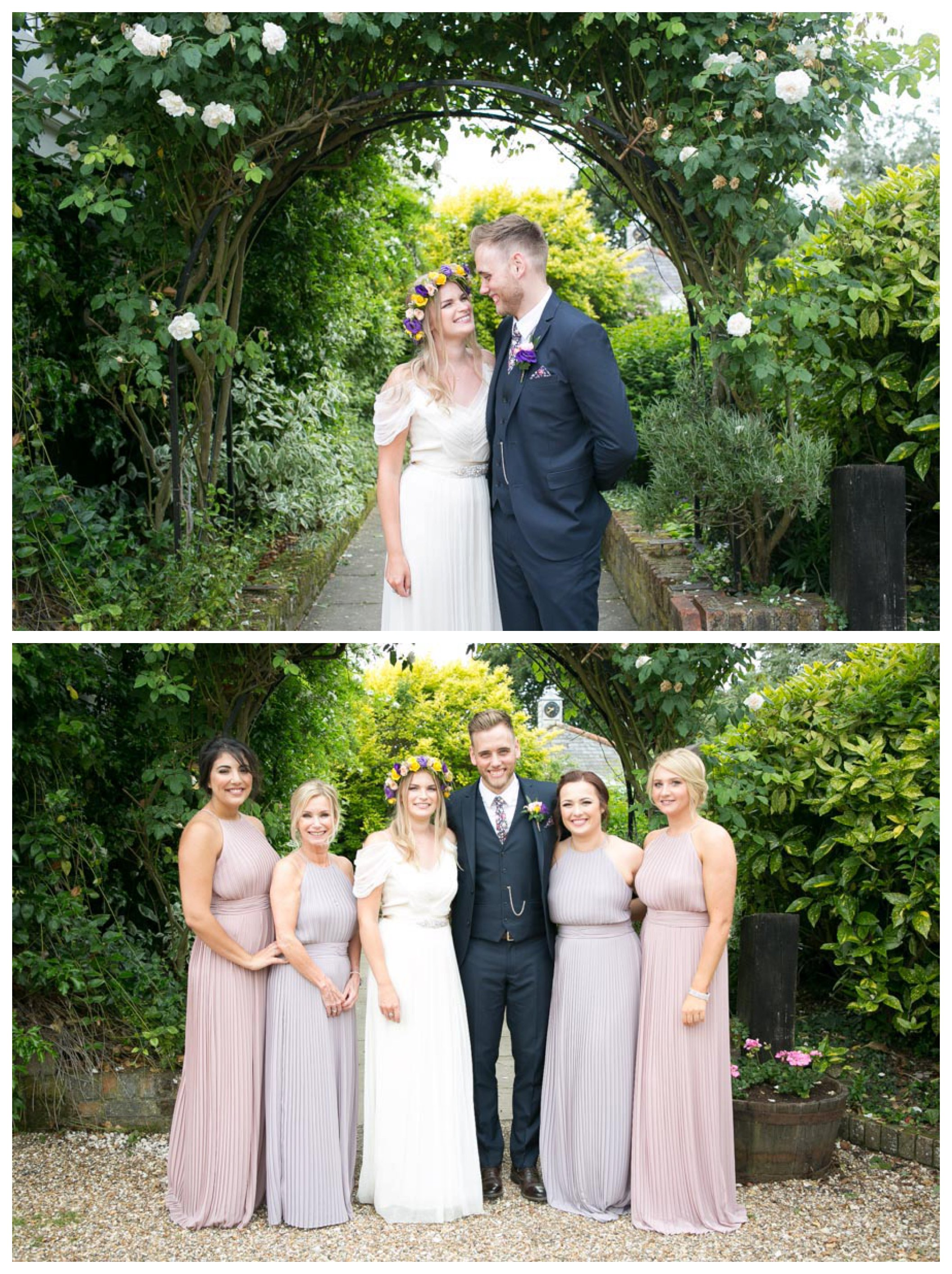relaxed just married couples under pretty rose arch, relaxed group photograph of bride groom and bridesmaids