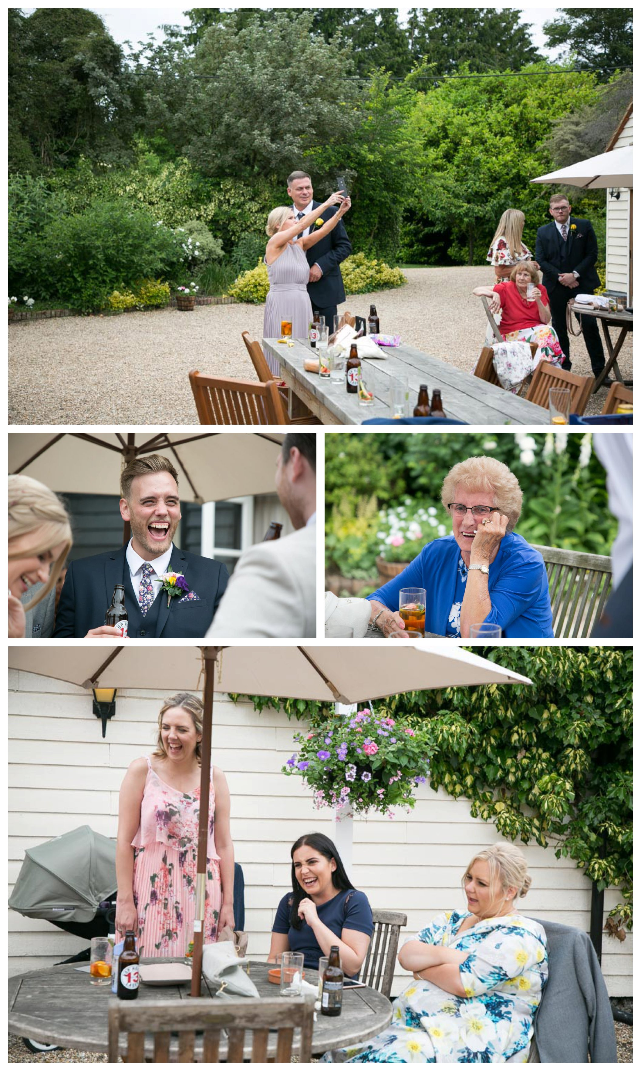 people laughing and having fun at outdoor wedding reception