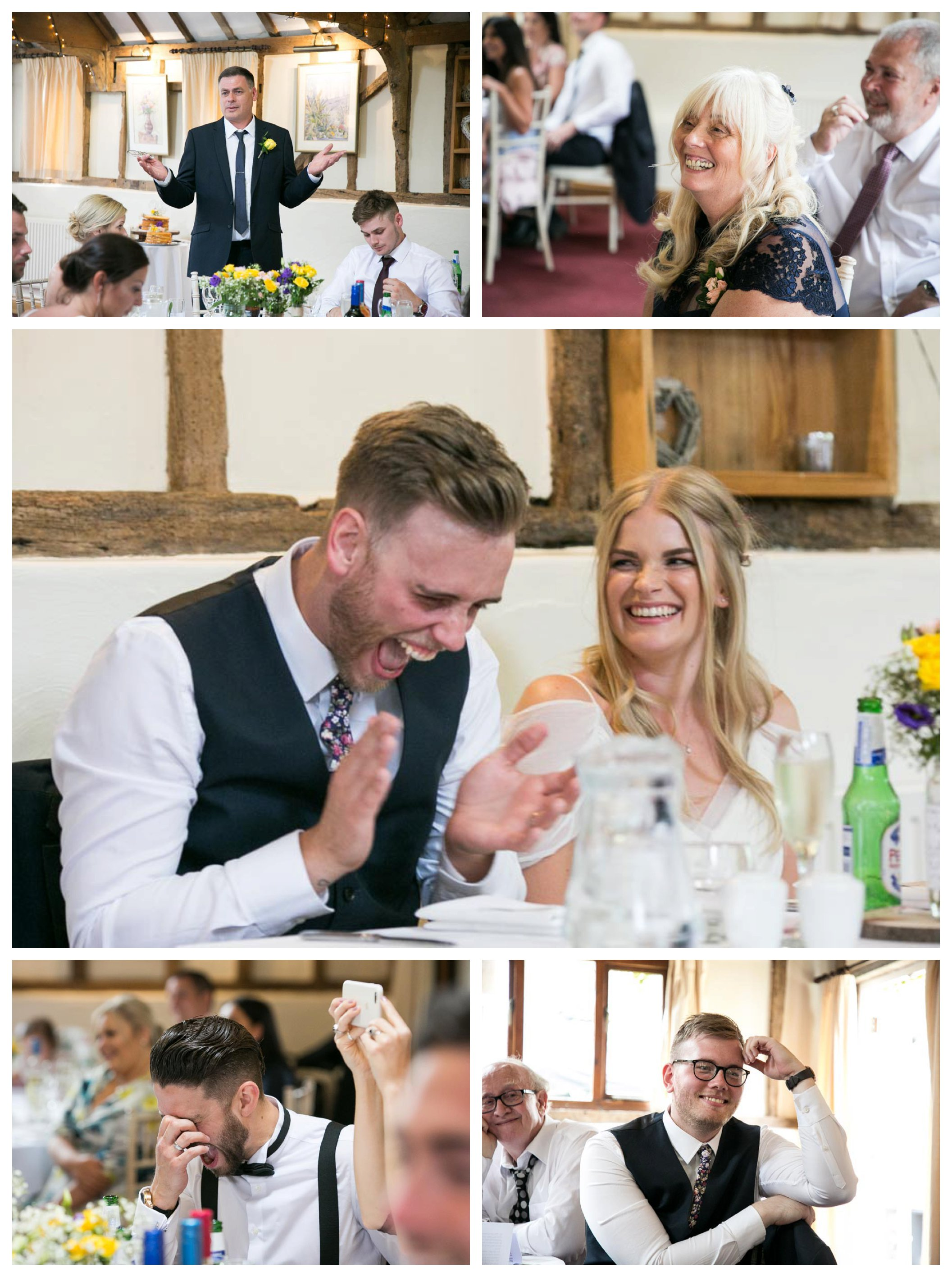 laughing at wedding speeches at Reid Rooms wedding reception