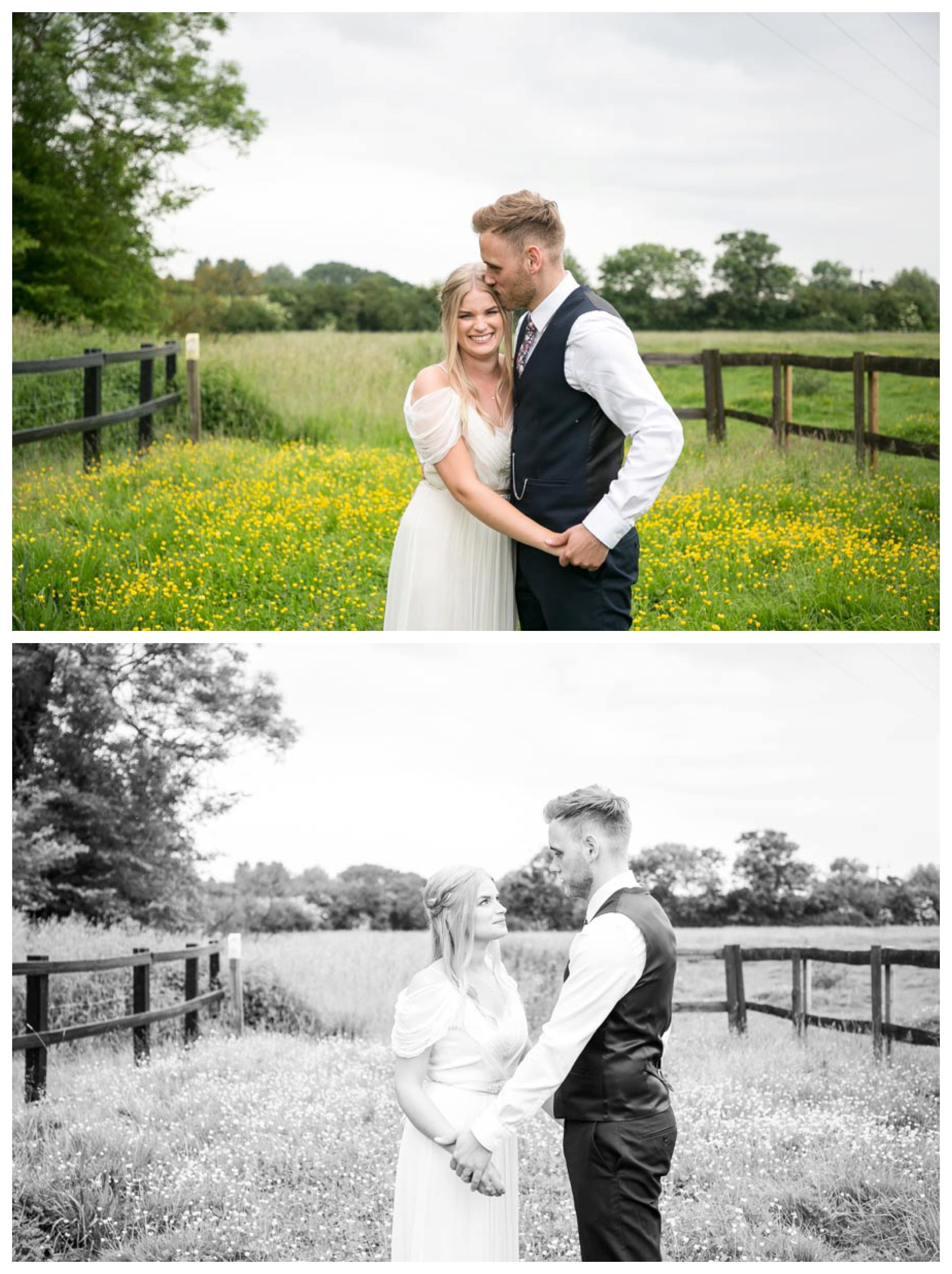 bride and groom stand in field of yellow flowers