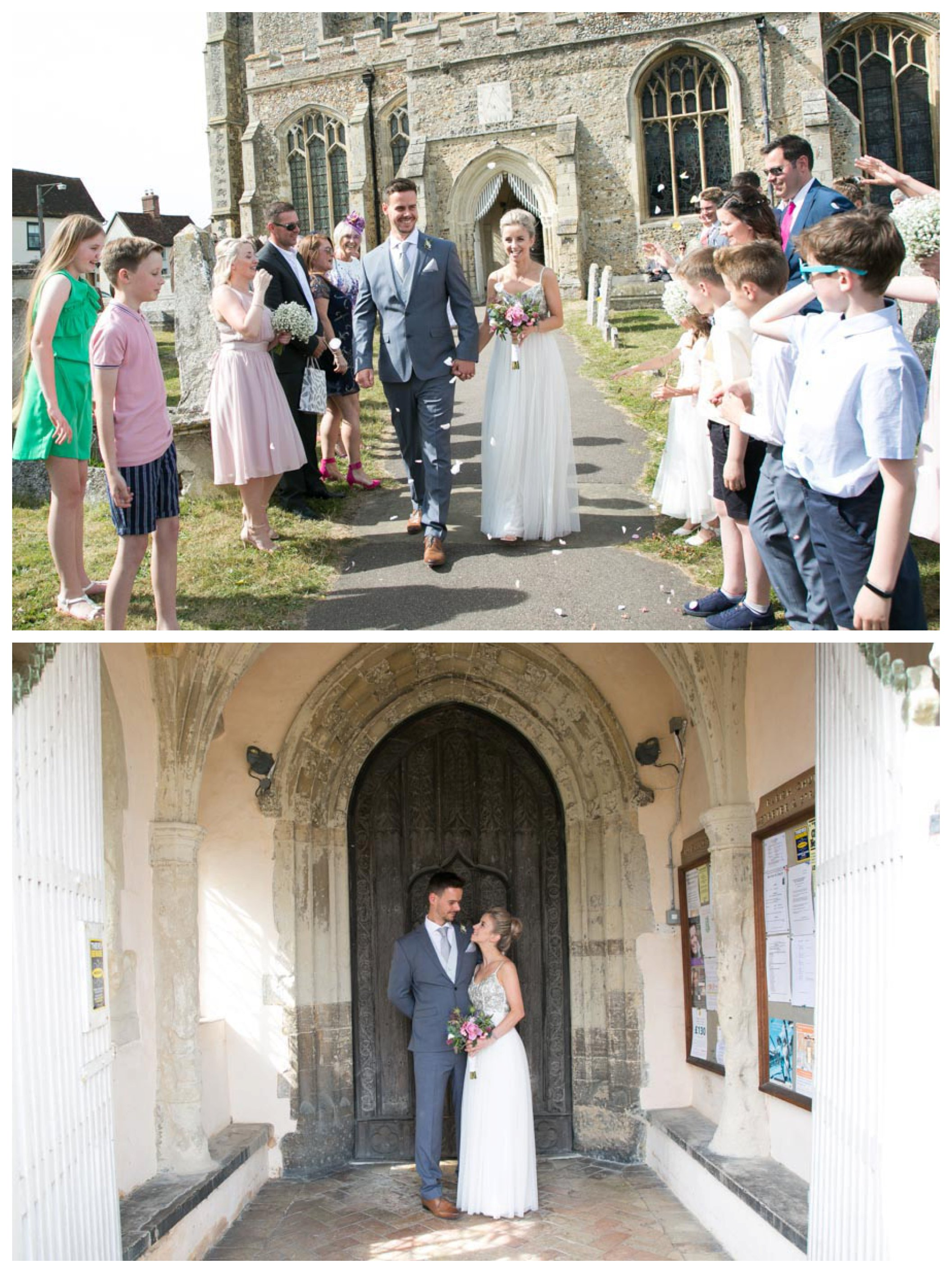 bride and groom walking along path, confetti being thrown, standing in church doorway