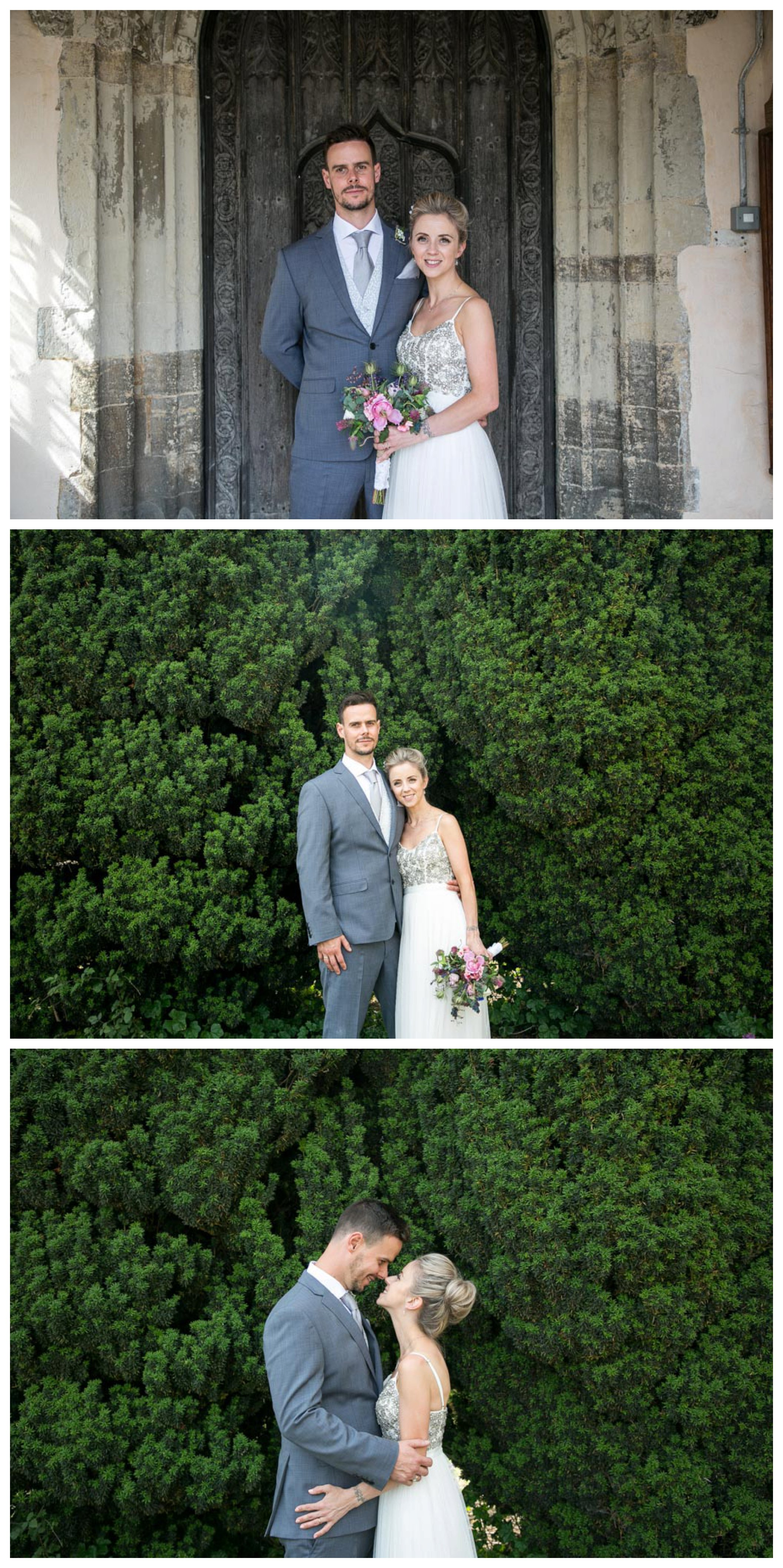 bride and groom photos outside church and infront of hedge at suffolk wedding