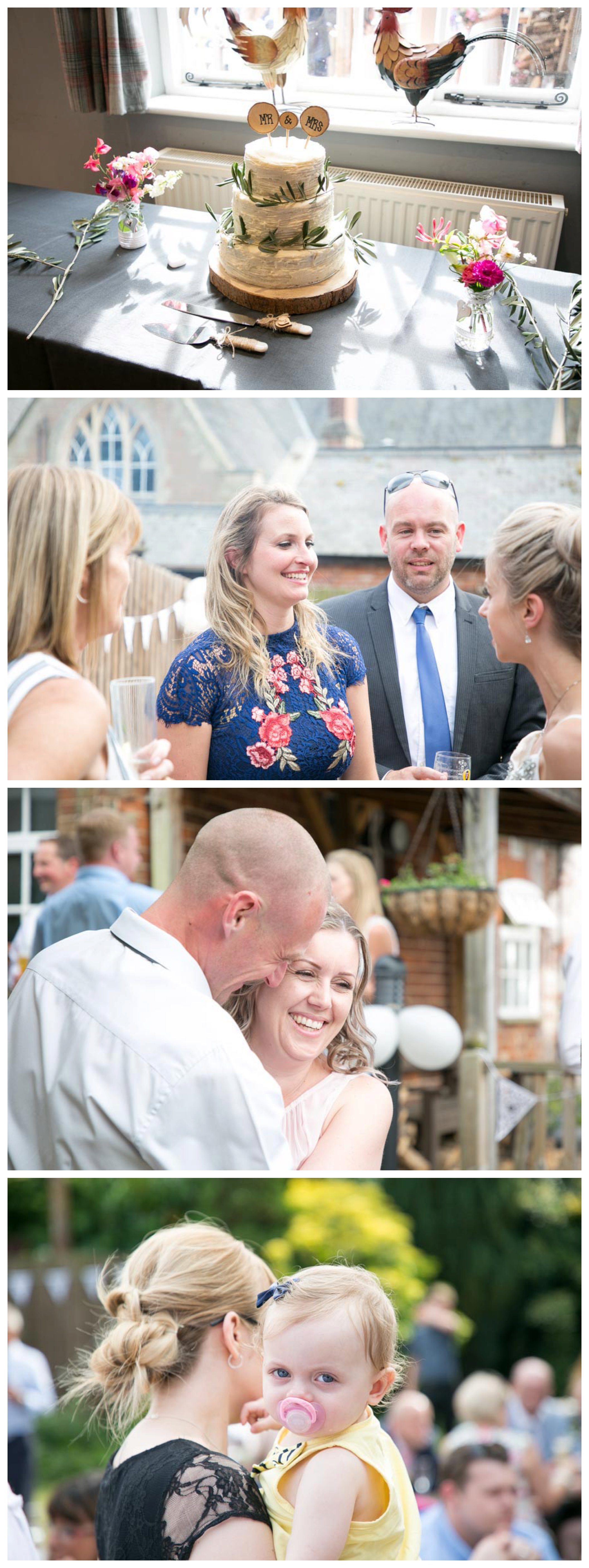 relaxed wedding reception photographs, people chatting, simple wedding cake