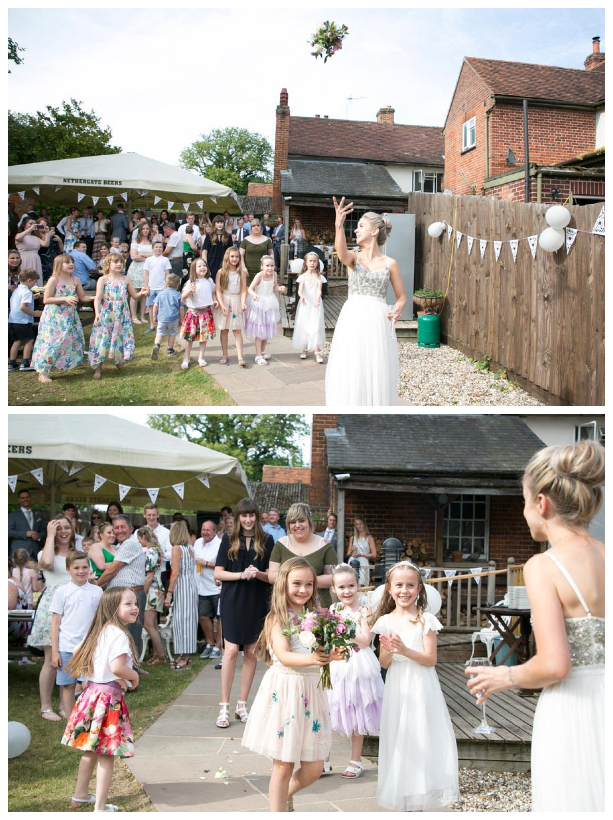 bride throwing the bouquet at pub garden wedding reception