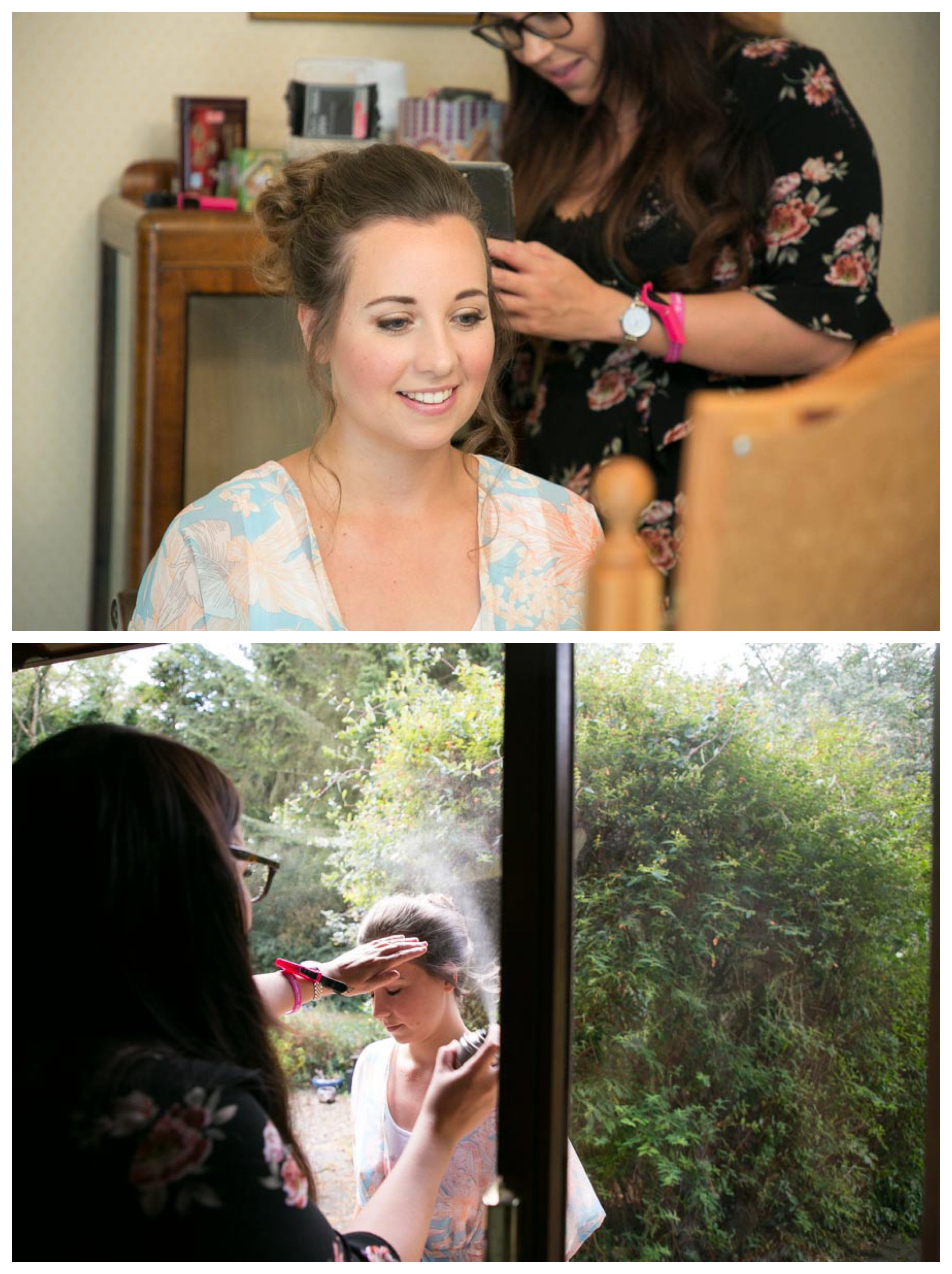pretty bride getting ready at home in Bishops Stortford