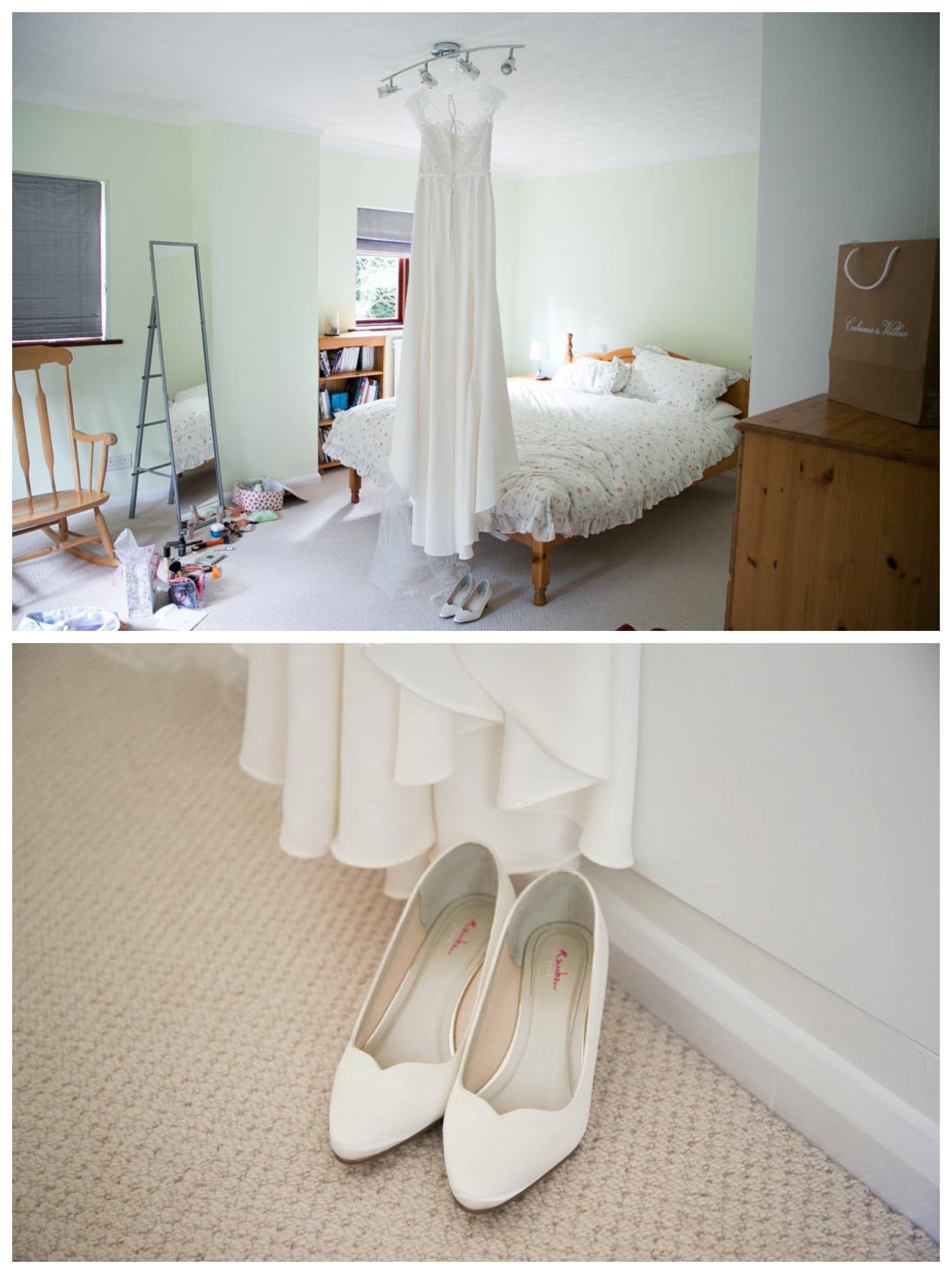 brides dress and shoes at family home in Bishops Stortford