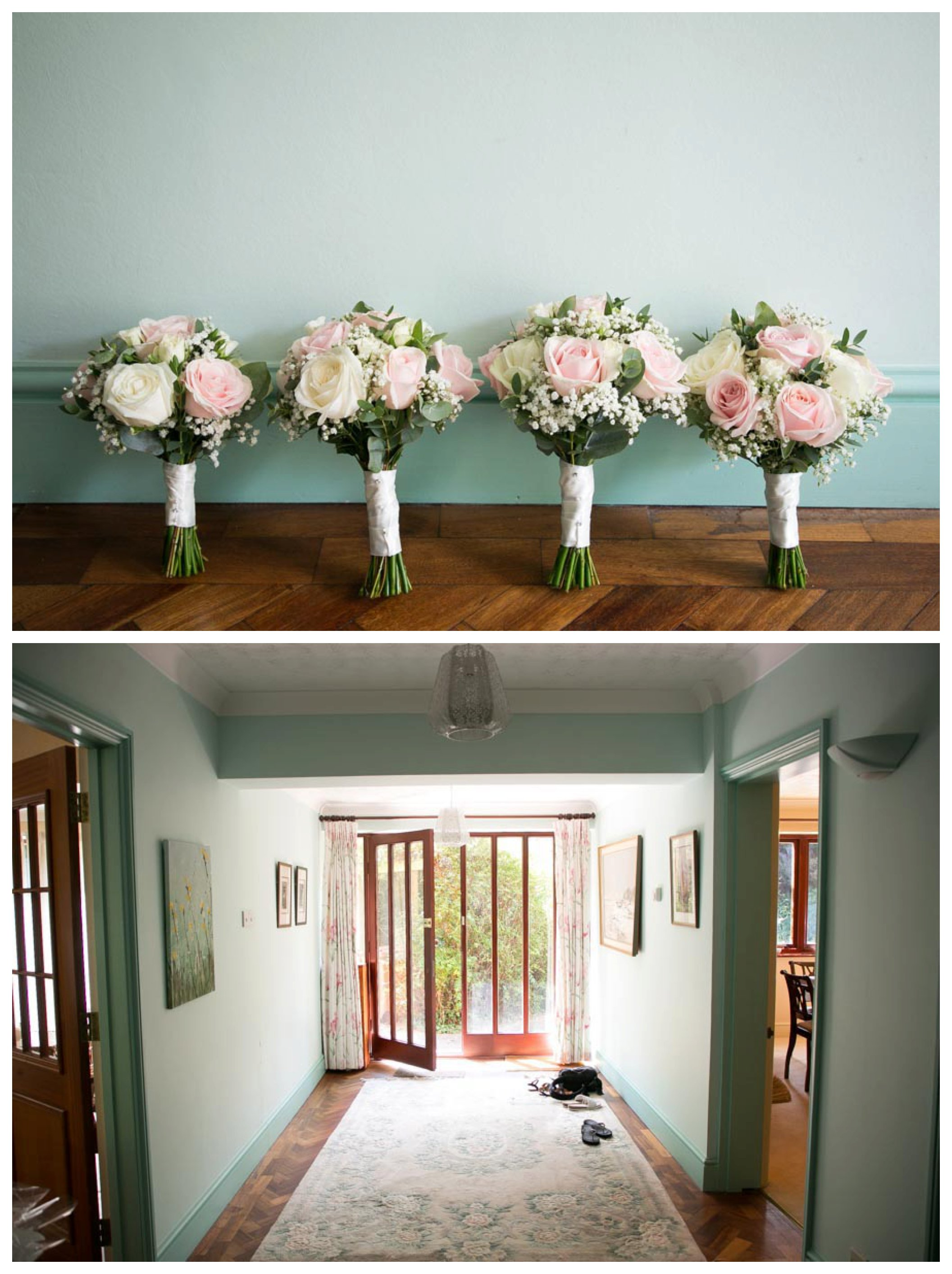 4 bouquets lined up at wall, doorway of family home before wedding