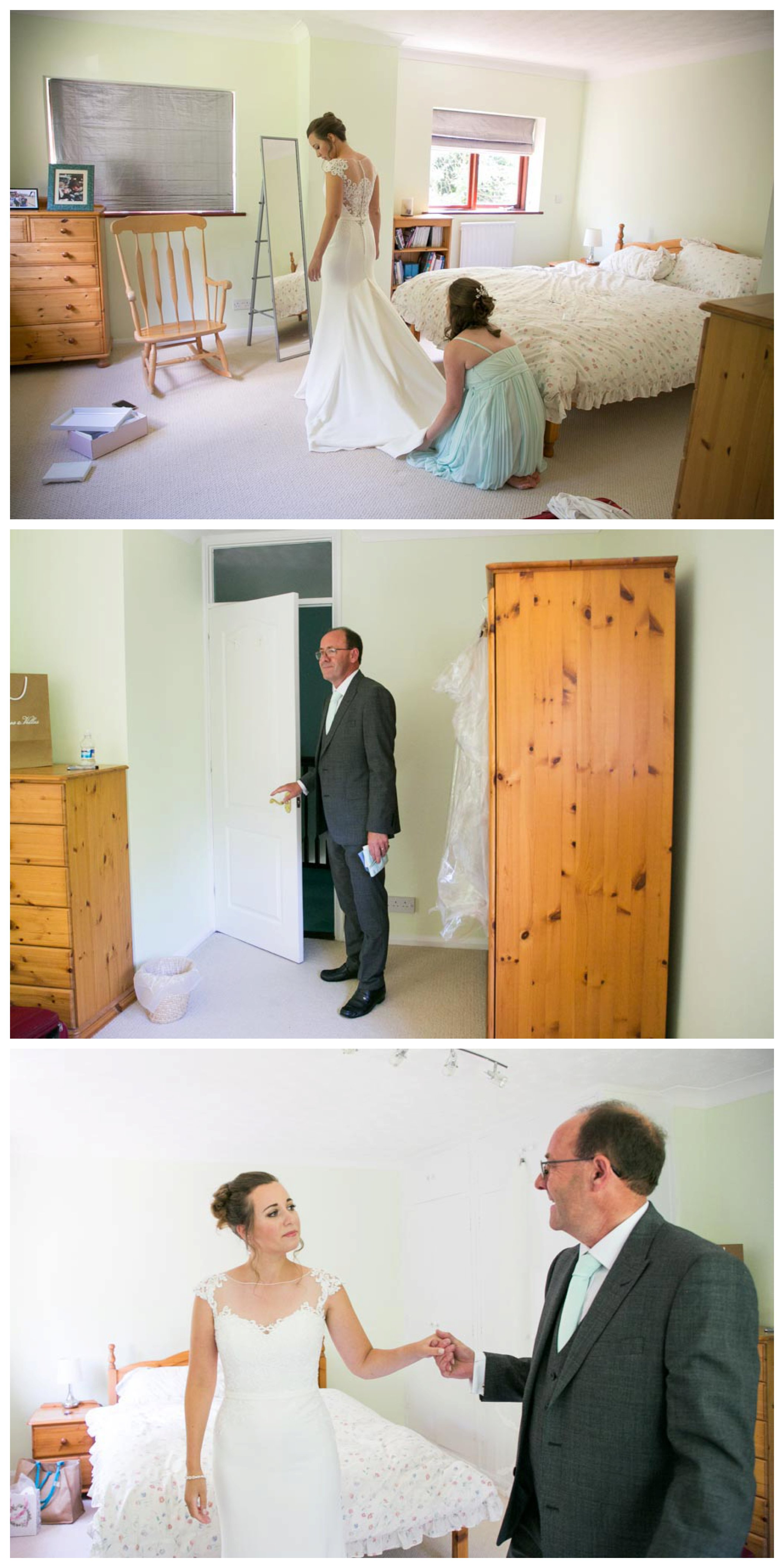 bride in wedding dress in childhood bedroom, emotional father coming in to see her