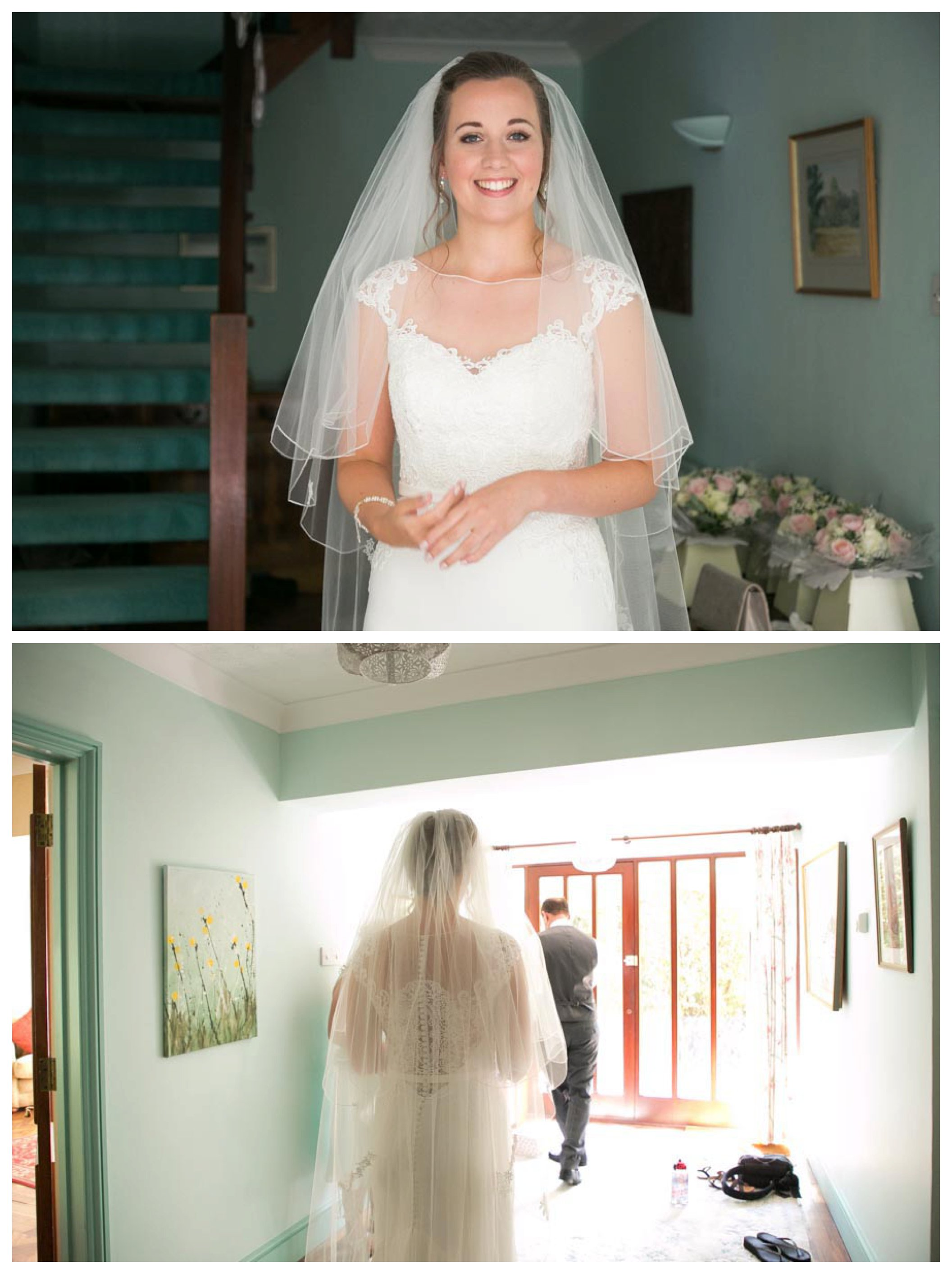 smiling bride in wedding dress and viel at her family home, heading to the door with dad