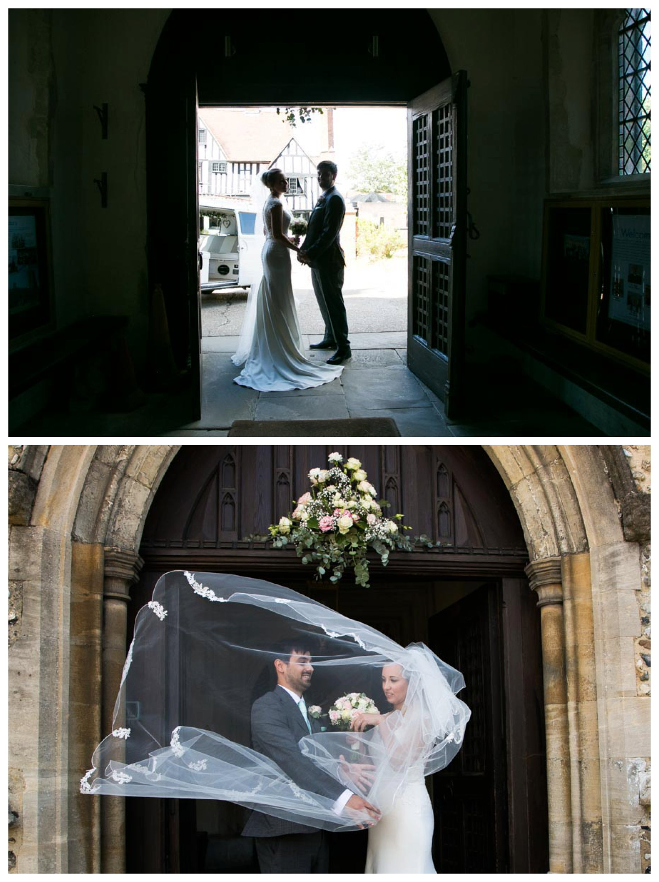 bride and groom in church doorway with light behind them, brides veil blowing infront of groom