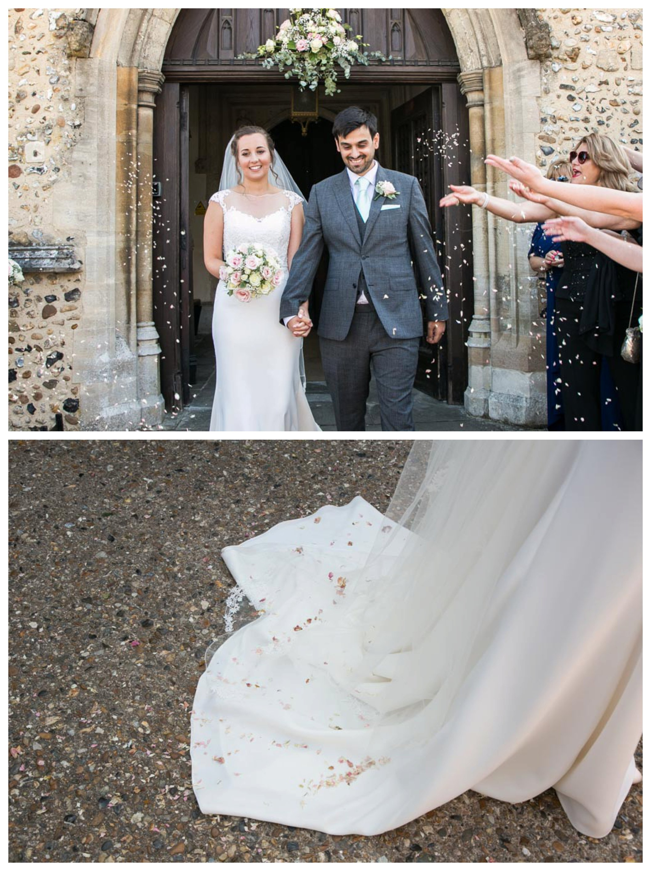 bride and groom leaving church, confetti on brides train of dress