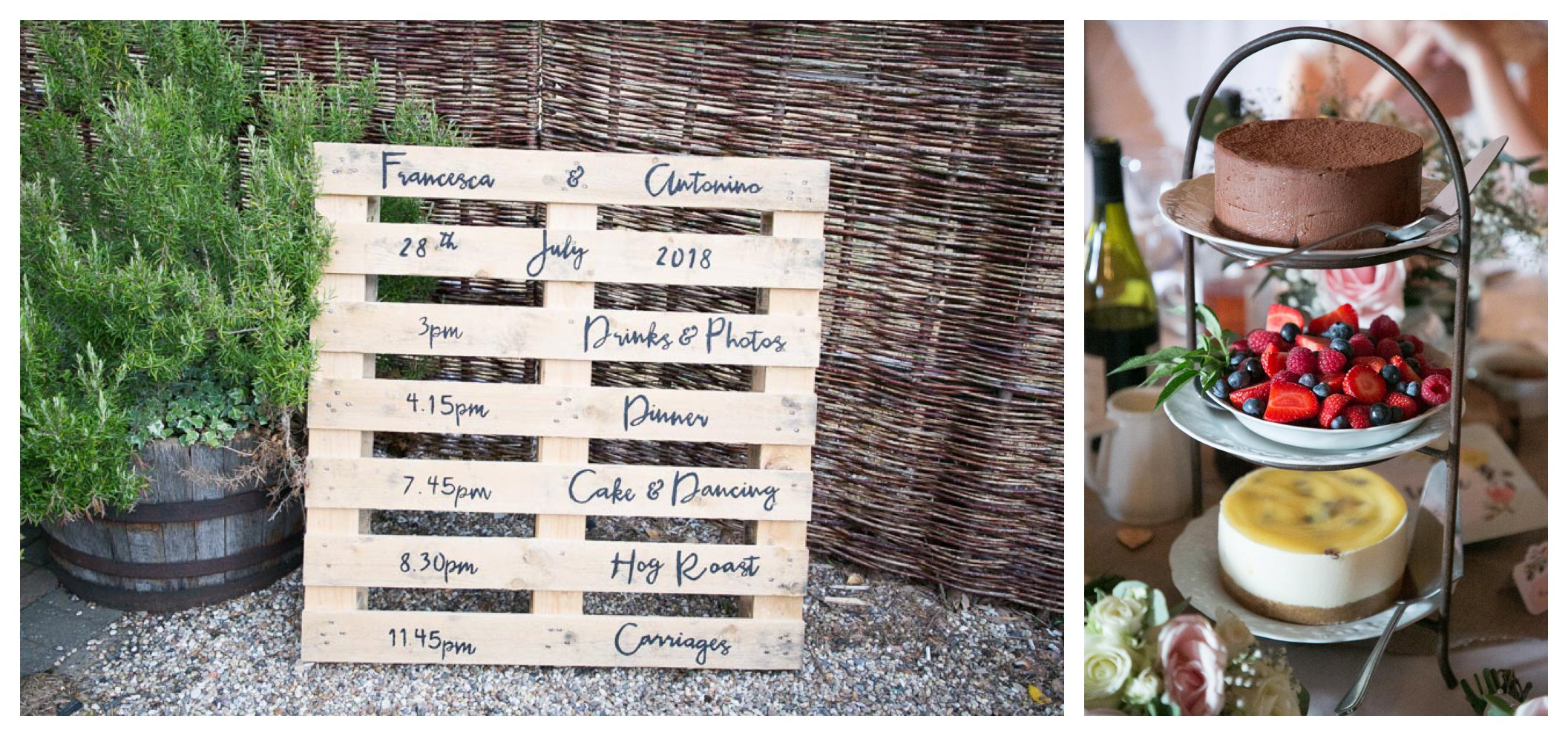 wooden pallet with wedding timings written on and dessert trio