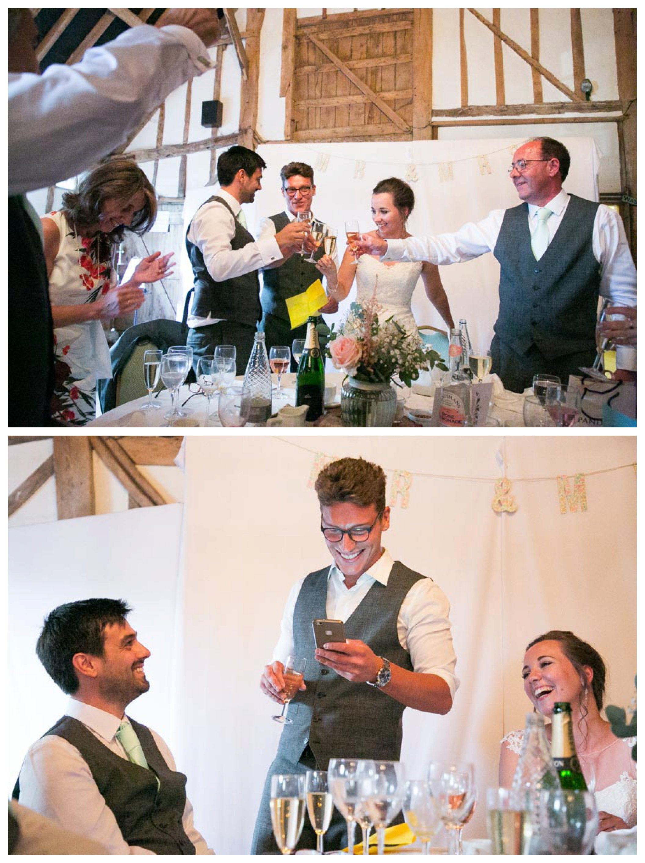 fun speeches at Pledgdon barn wedding, best man reading from his phone