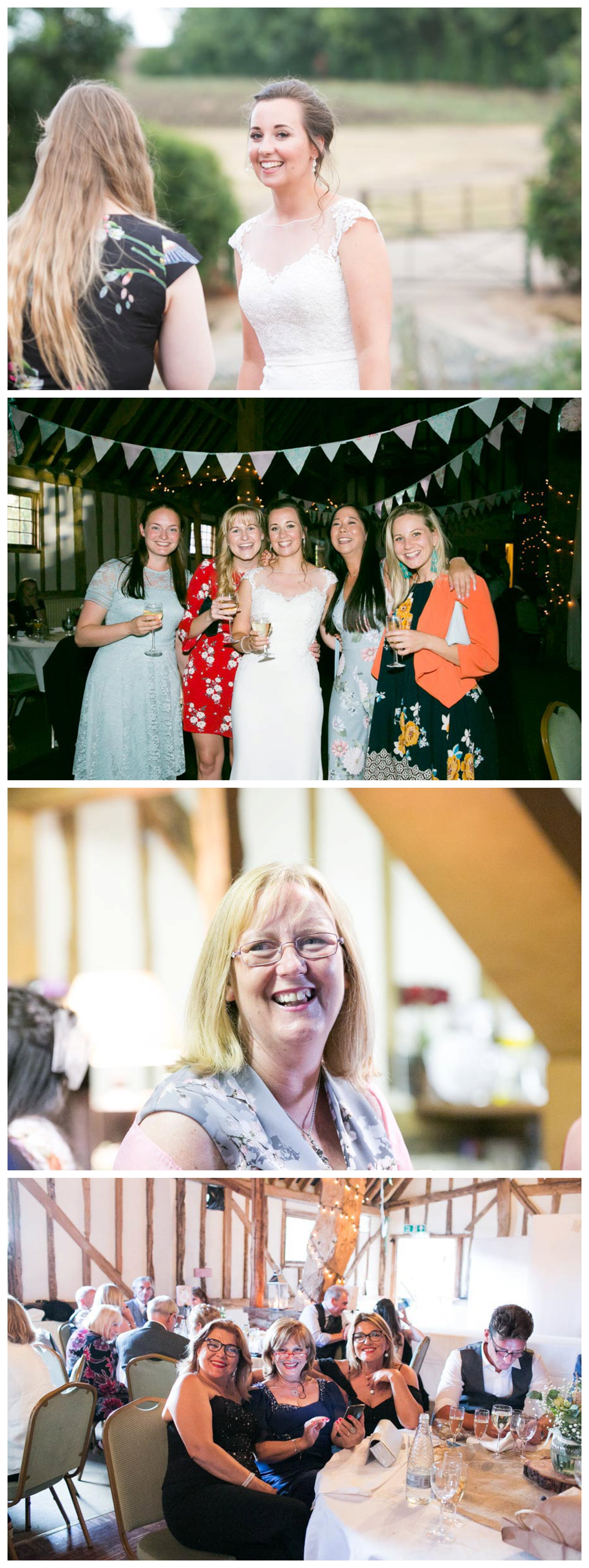 relaxed photos of guests at Essex Herts wedding