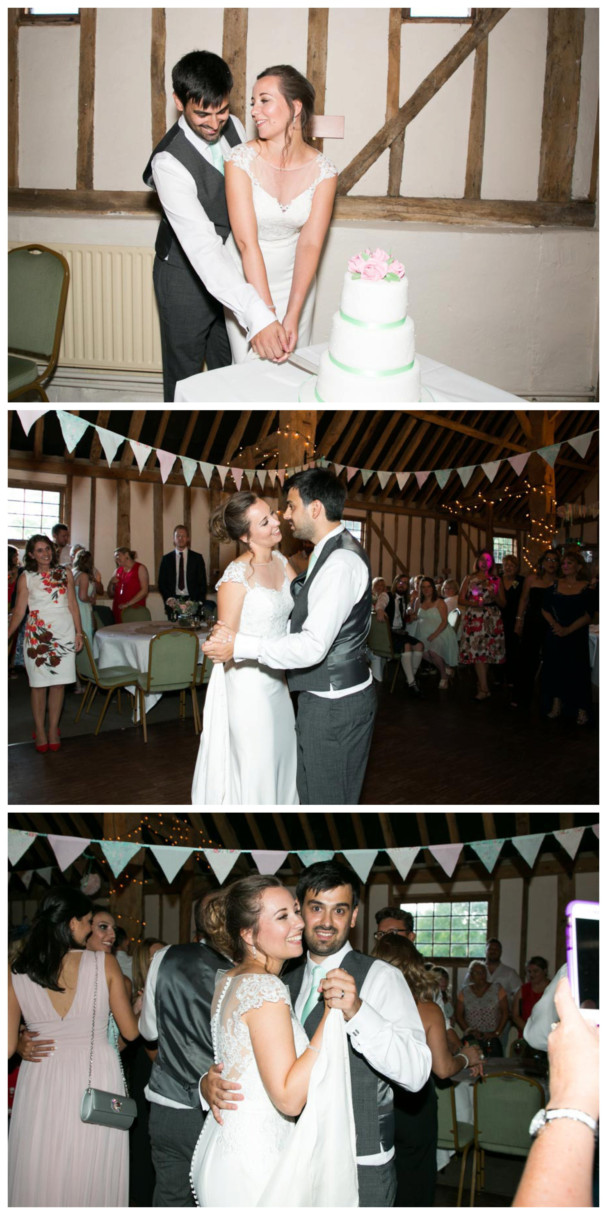 bride and groom cutting cake and having first dance at Pledgdon Barn wedding