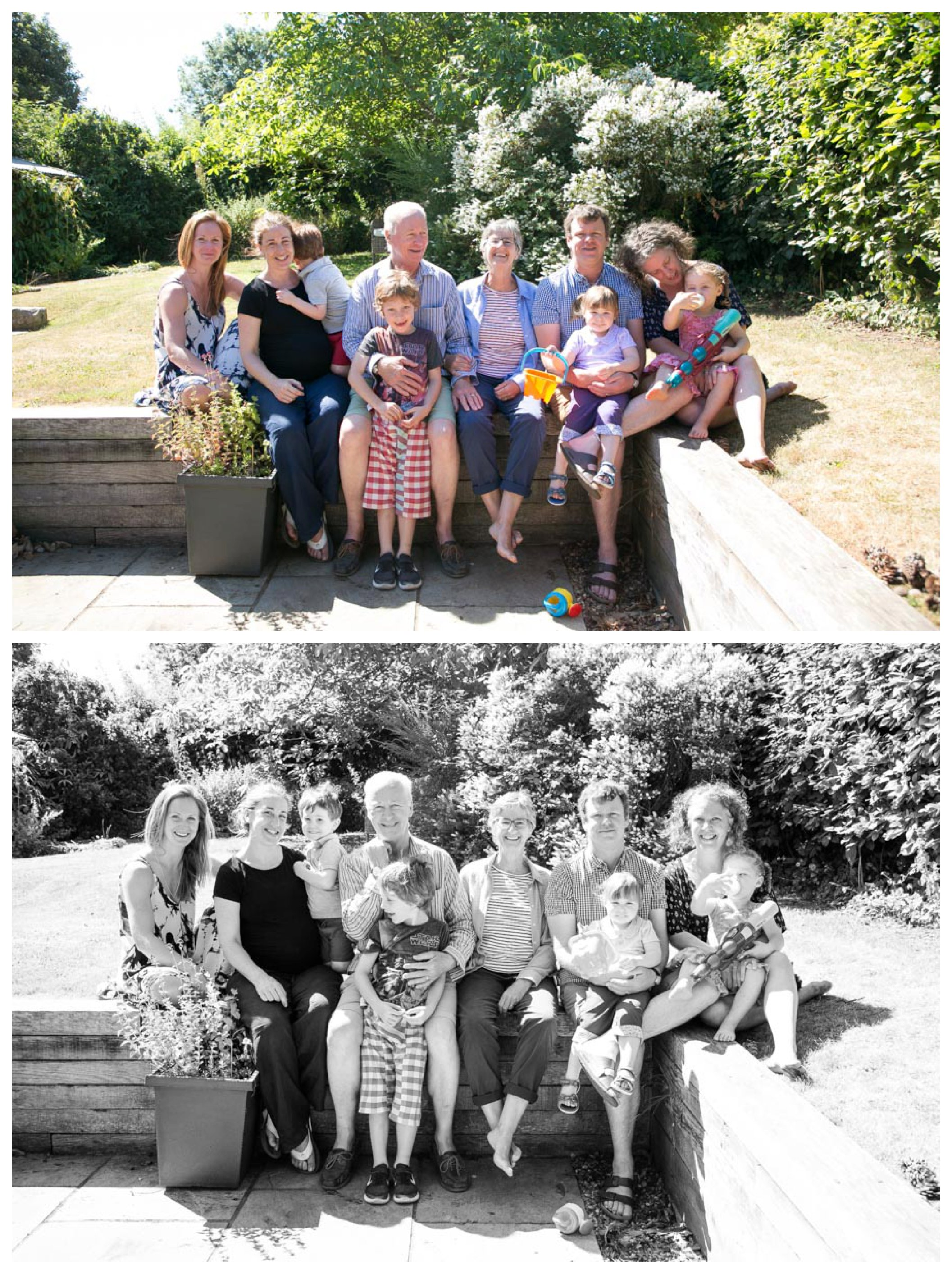 relaxed family photography, group photos sat outside in summer