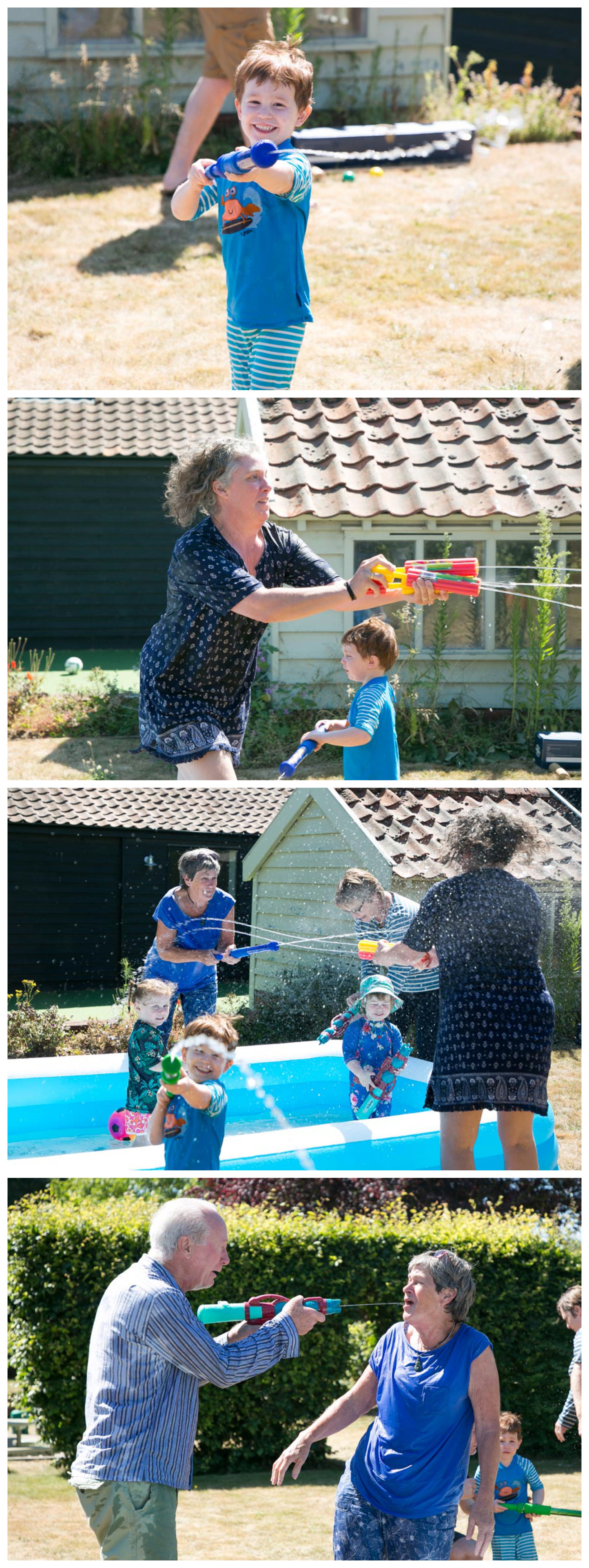 fun photos of family having a water fight