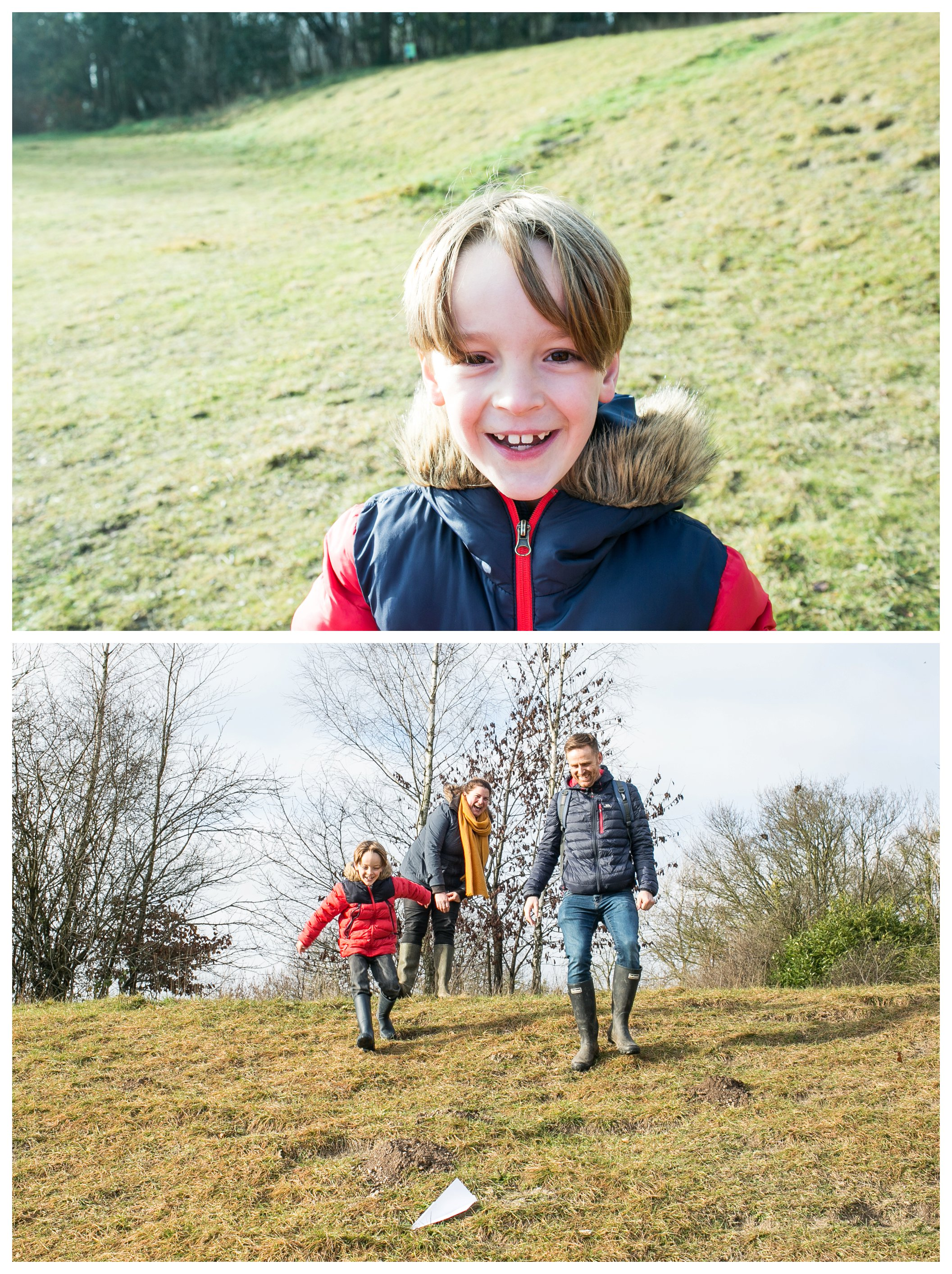 smiling face of young boy at cambridge country park, flying paper aeroplanes