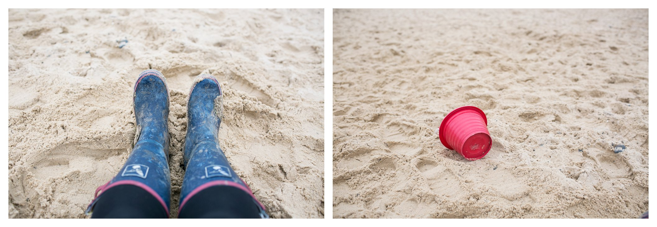 wellies and a red bucket at southwold beach