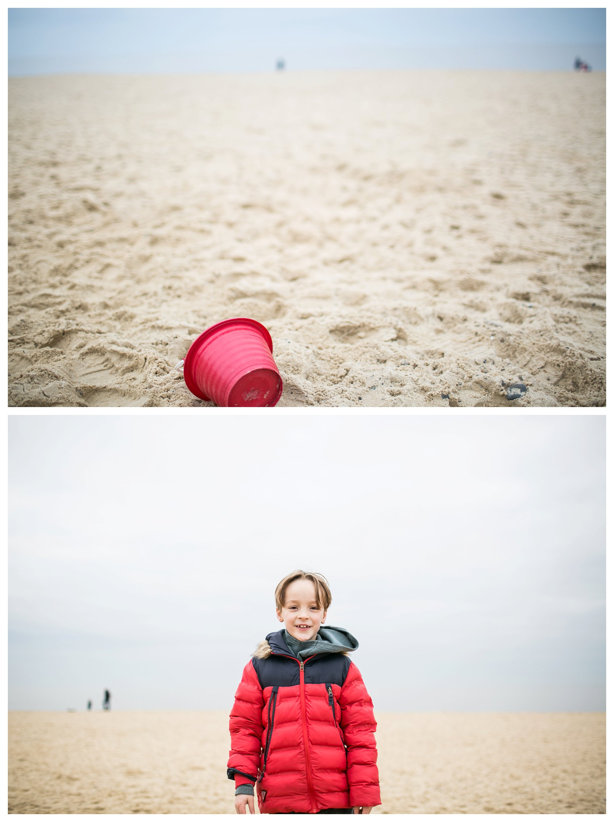 red bucket on beach, boy in red jacket on southwold beach