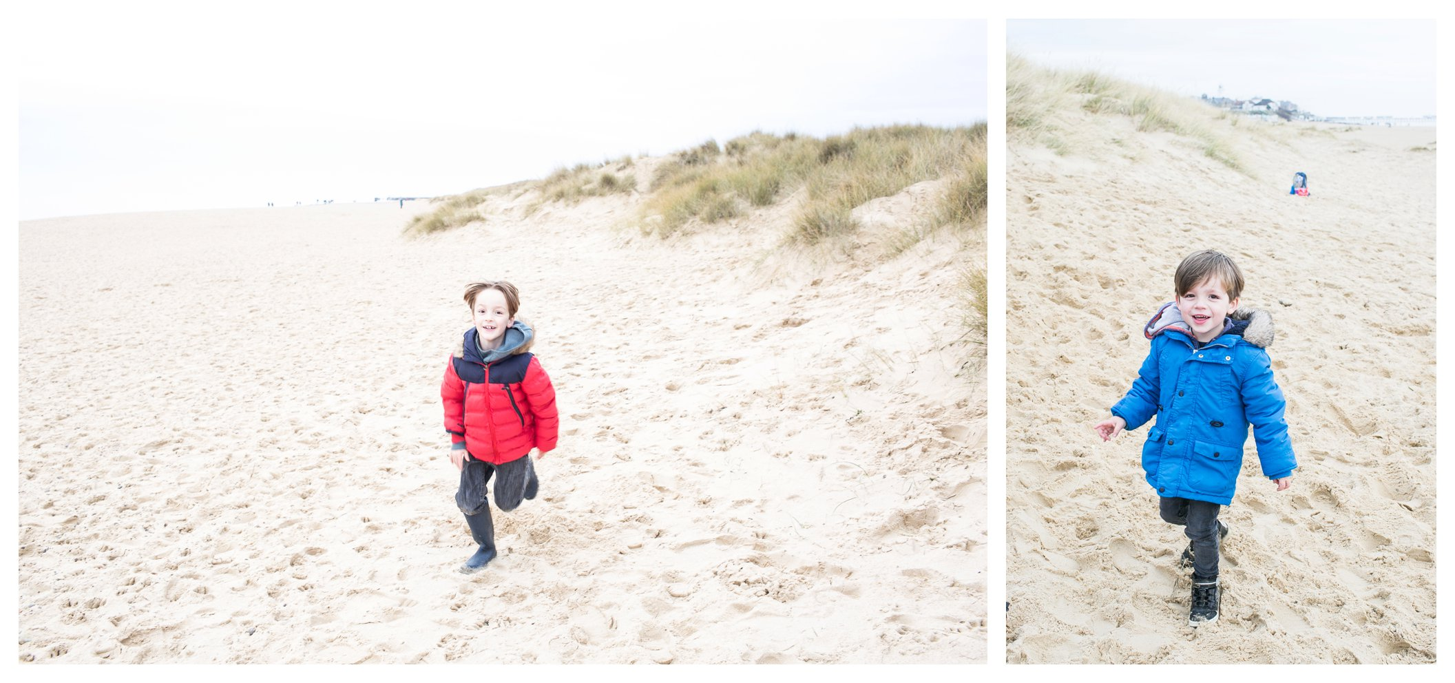 boys running along sand at family photo shoot on Southwold beach