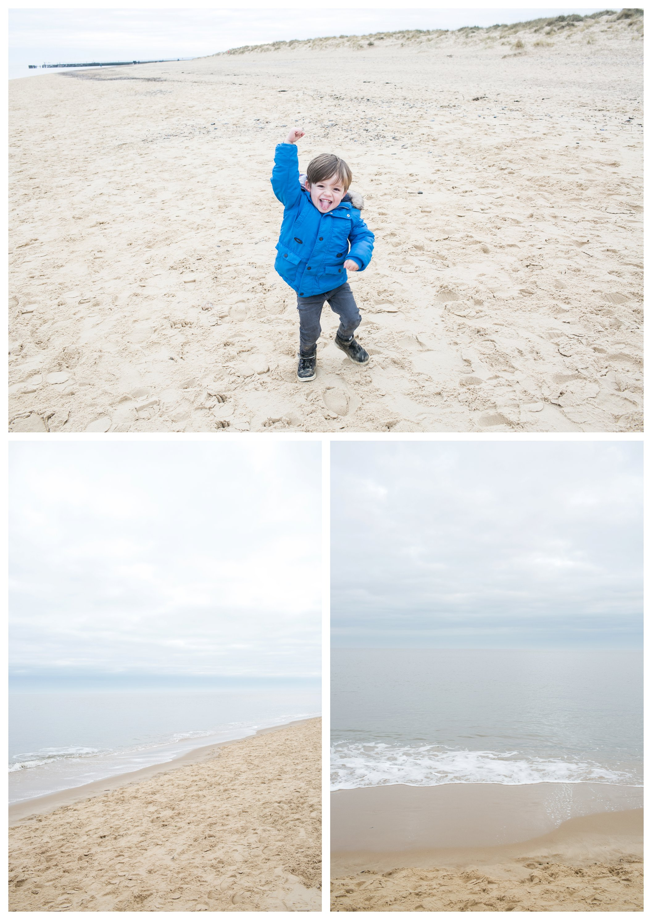 boy in blue coat and seascapes