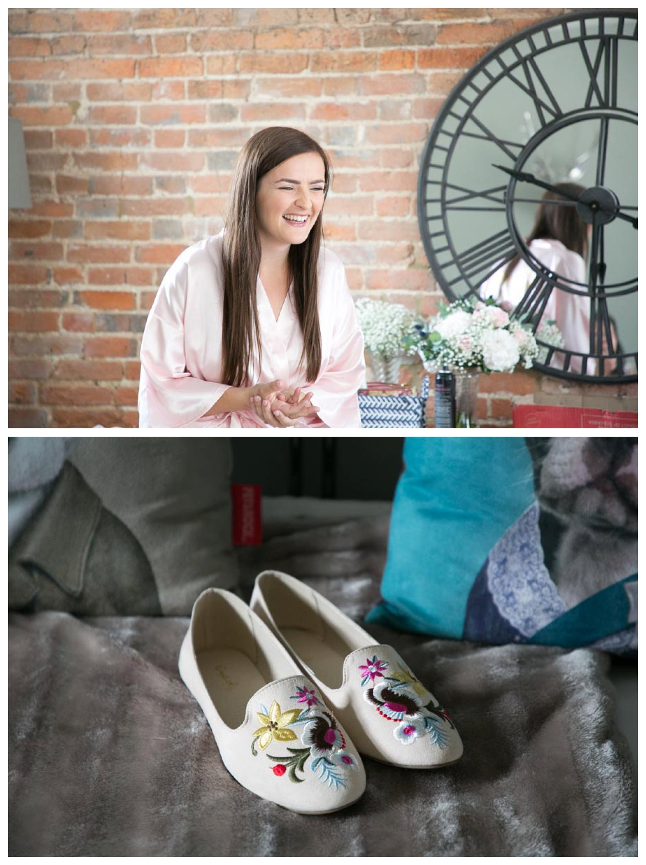 laughing bride and fun embroidered shoes